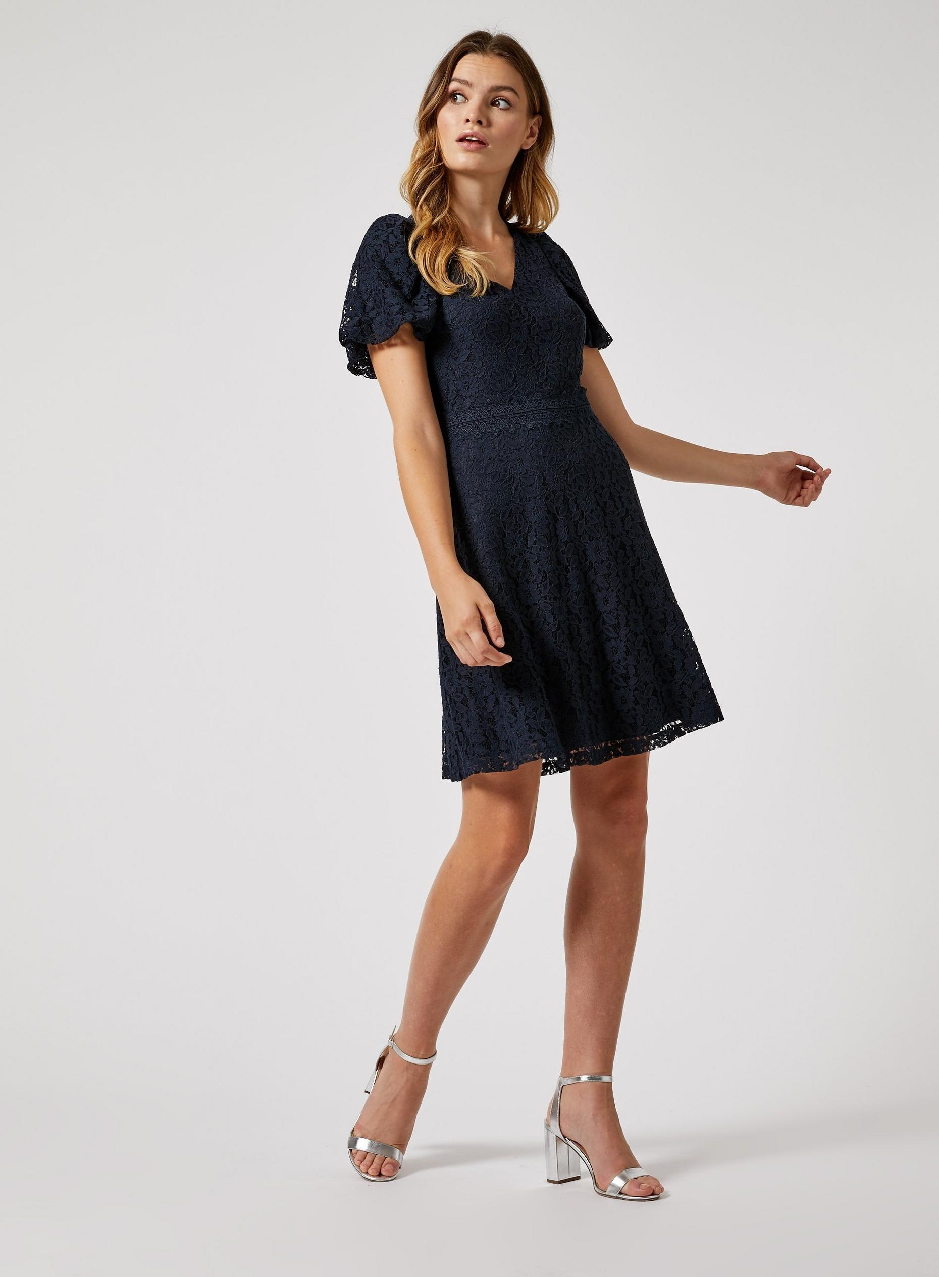 Navy Lace Bubble Sleeve Skater Dress