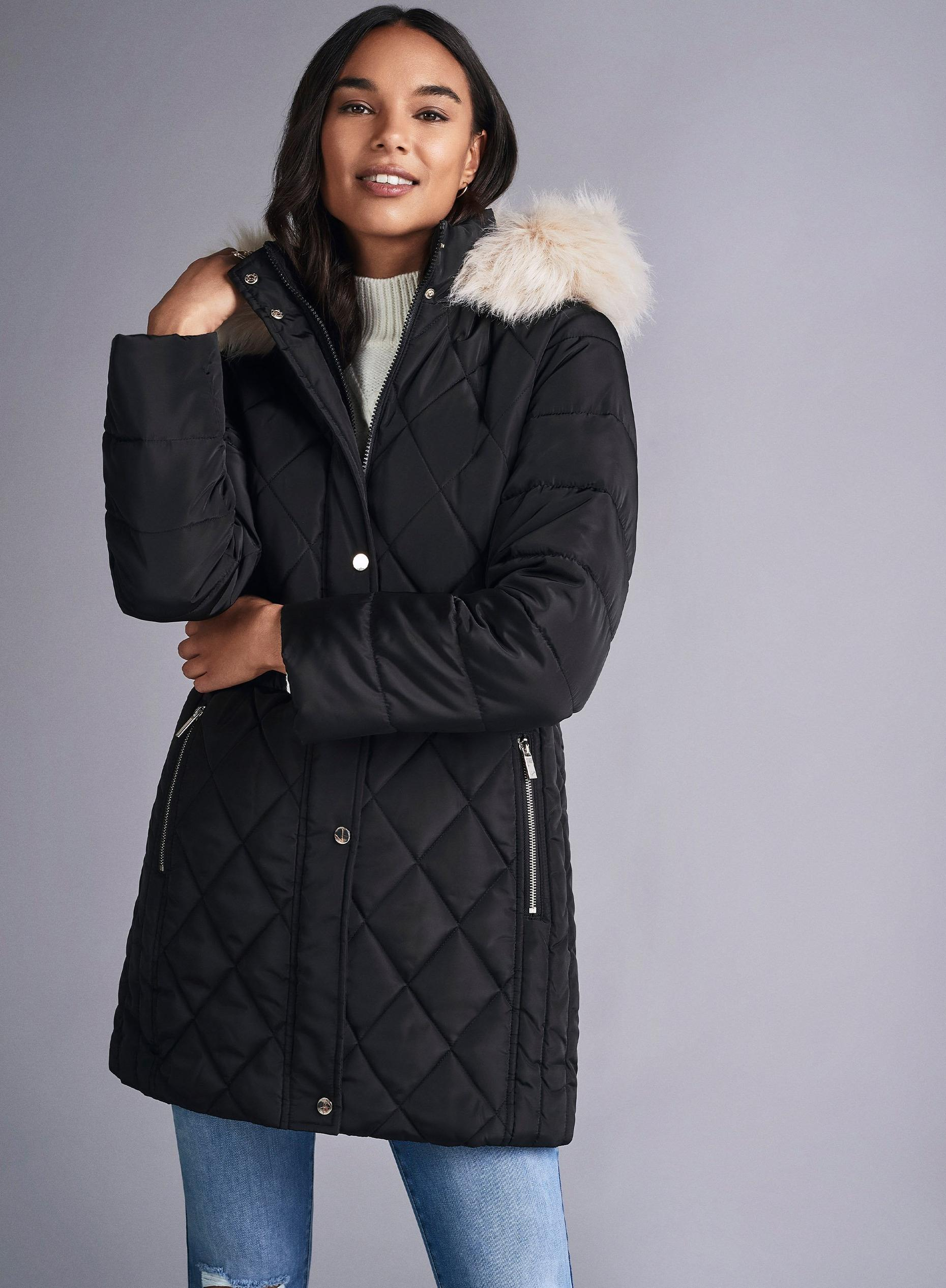 Petites Black Long Luxe Quilted Coat