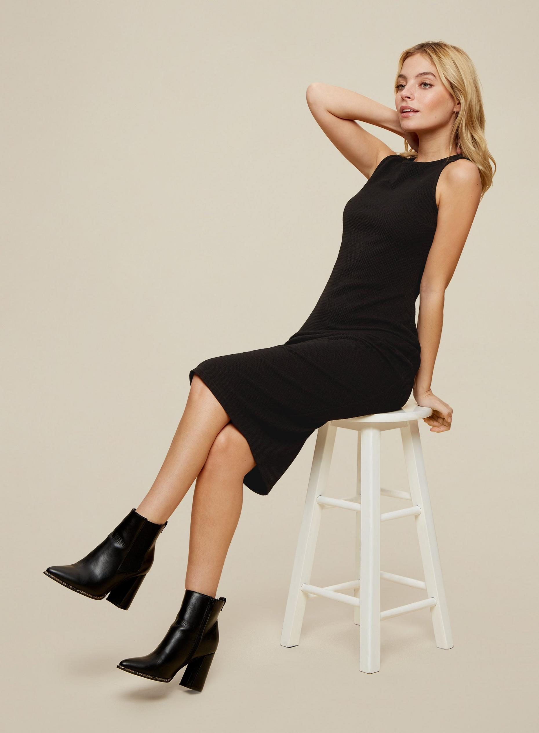 Petites Black Bodycon Midi Dress