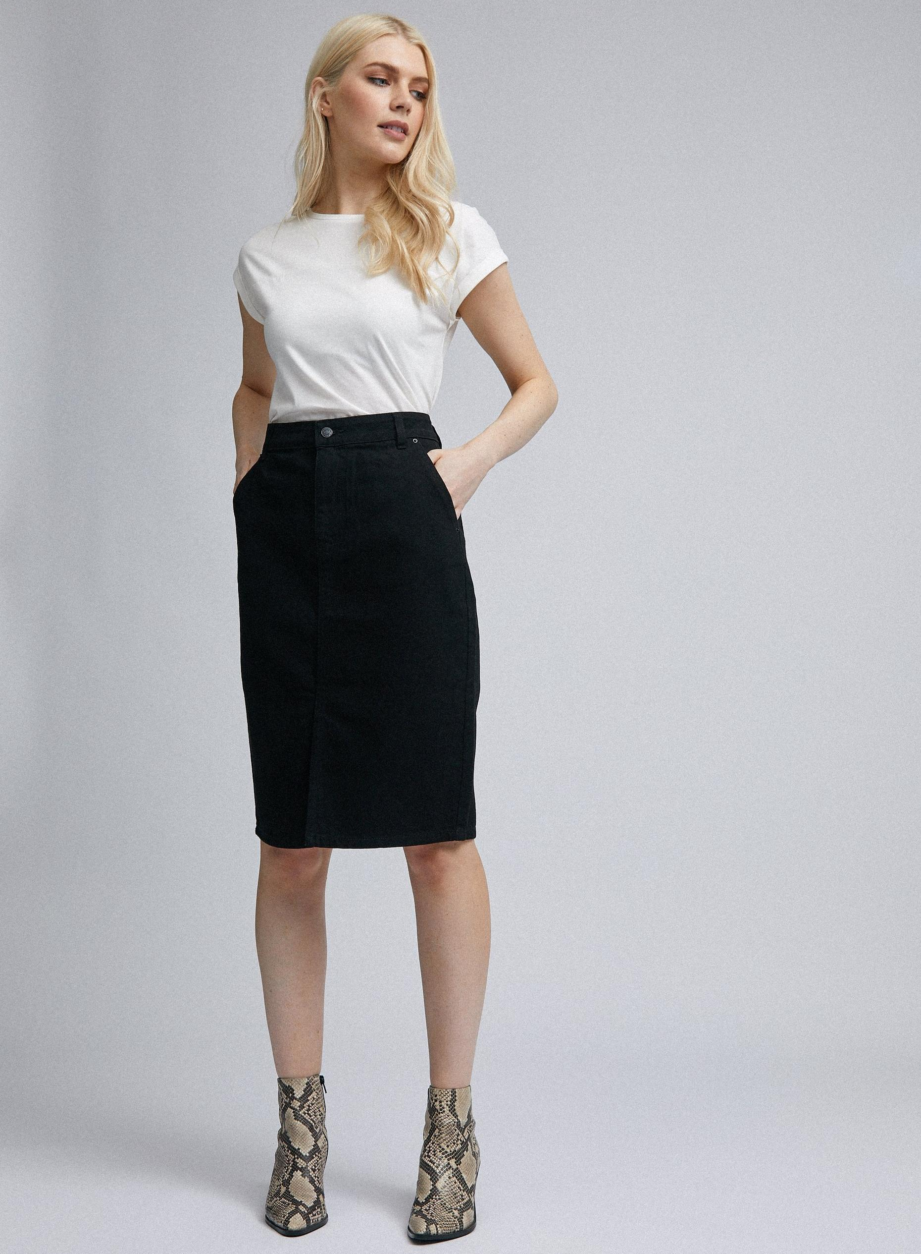 Black Organic Cotton Denim Midi Skirt