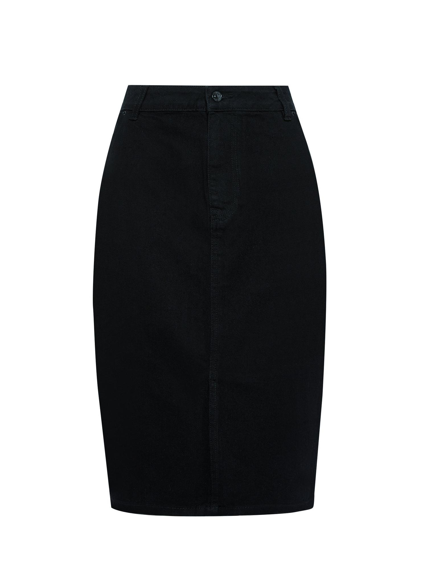 105 Black Organic Cotton Denim Midi Skirt image number 2