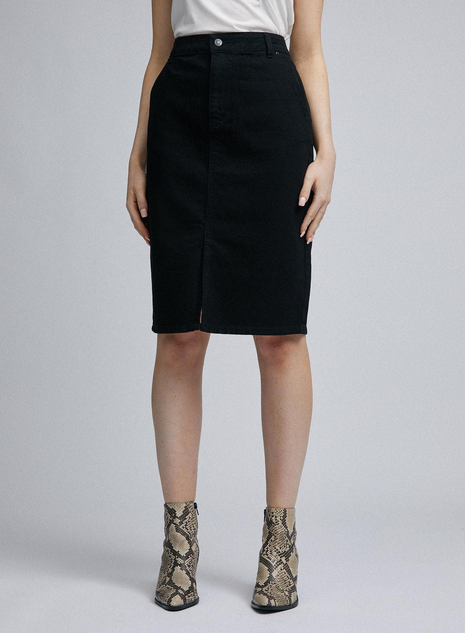 105 Black Organic Cotton Denim Midi Skirt image number 4
