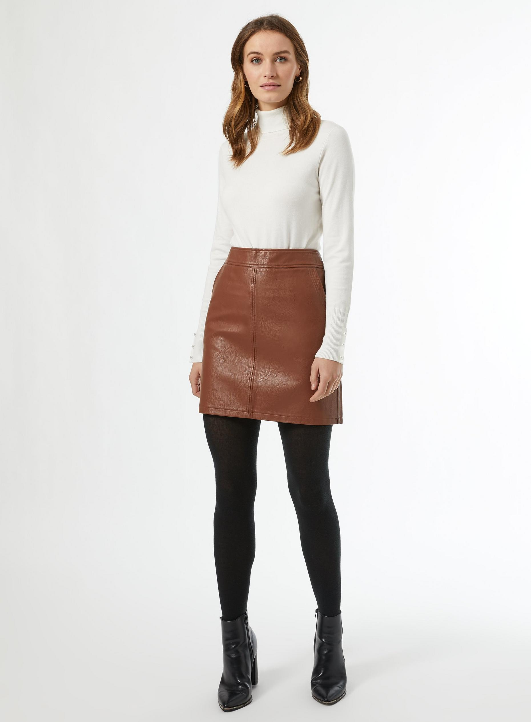 Tan faux leather pocket mini skirt