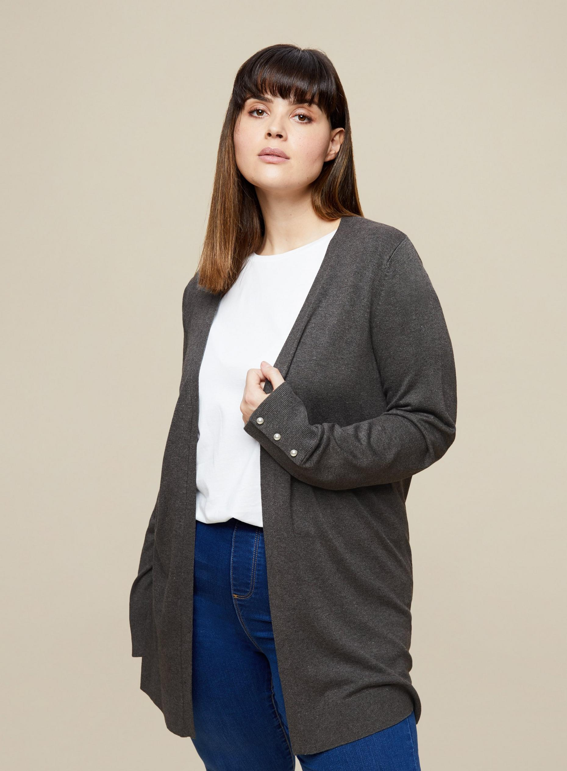 Curve Grey Long Sleeve Cardigan