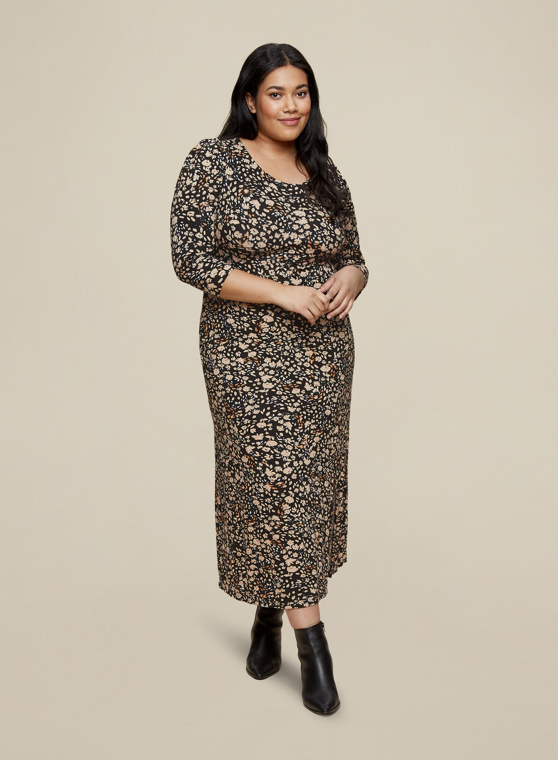 Curve Neutral Floral Midi Dress
