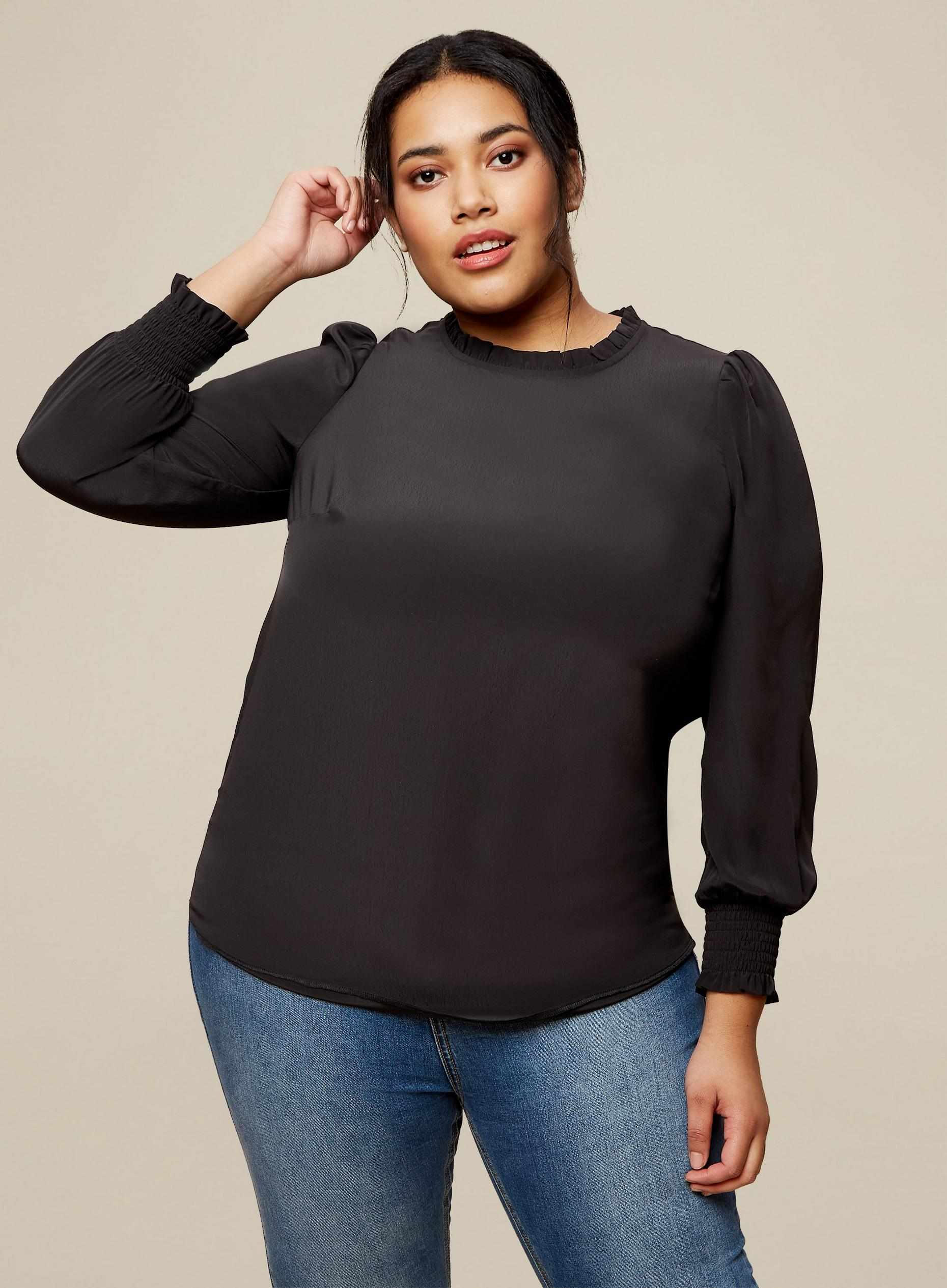 Curve Black Shirred Cuff Top
