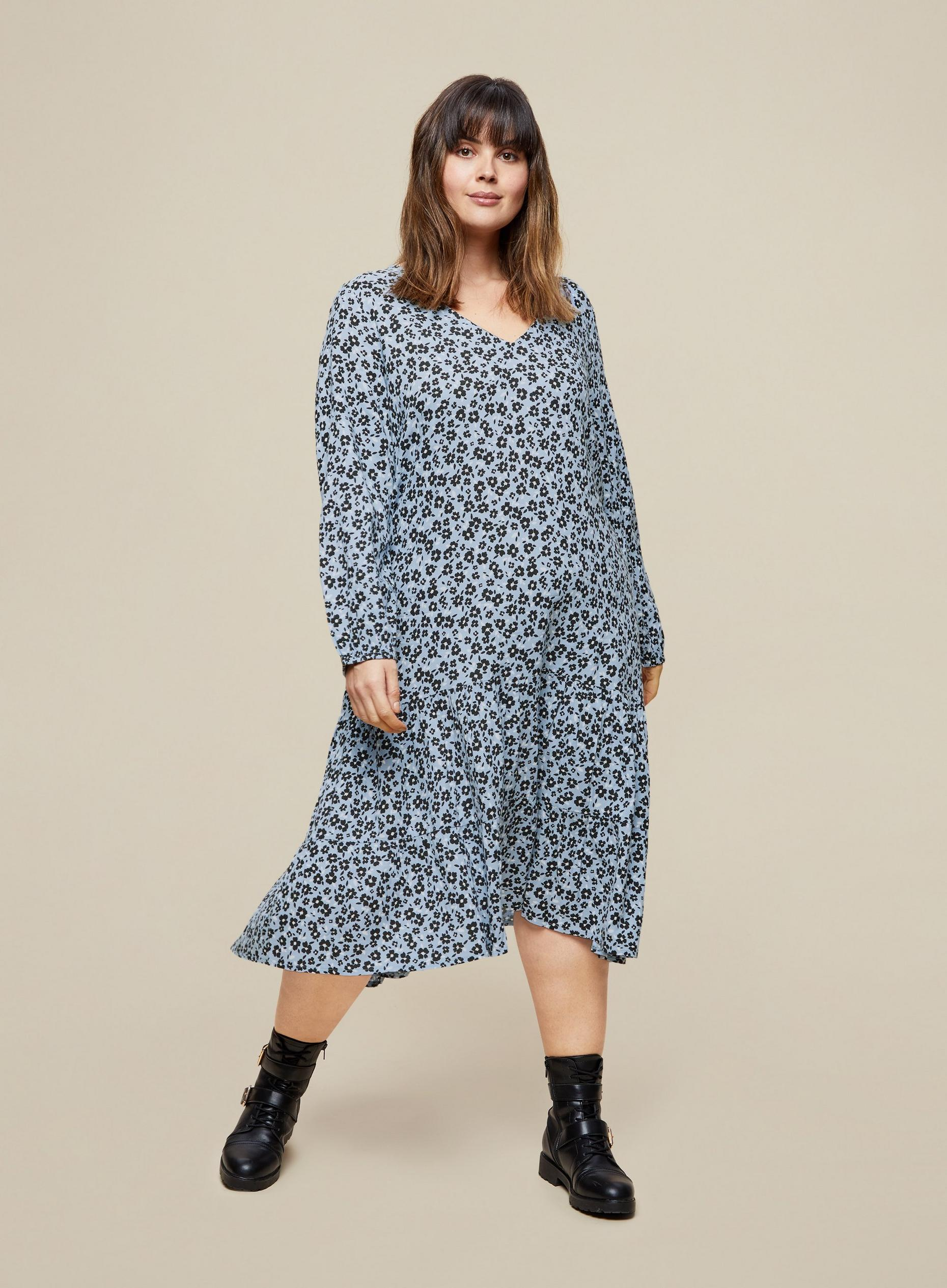 Curve Blue Floral Smock Dress