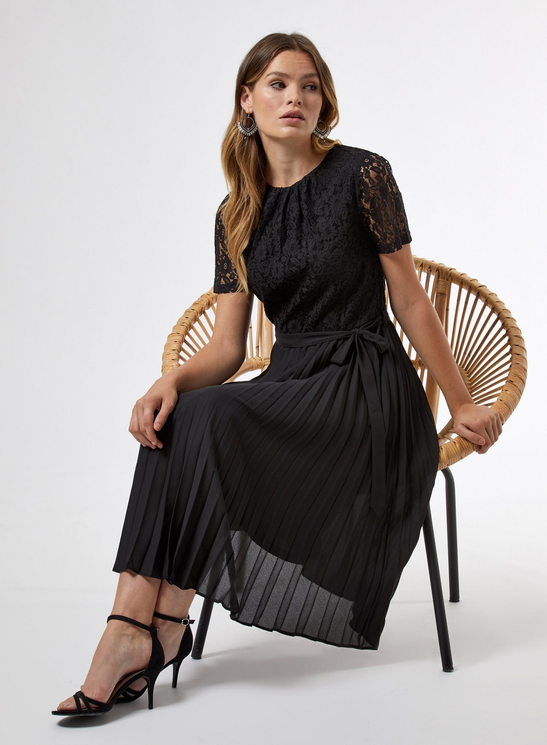 Black Lace Pleat Midi Dress