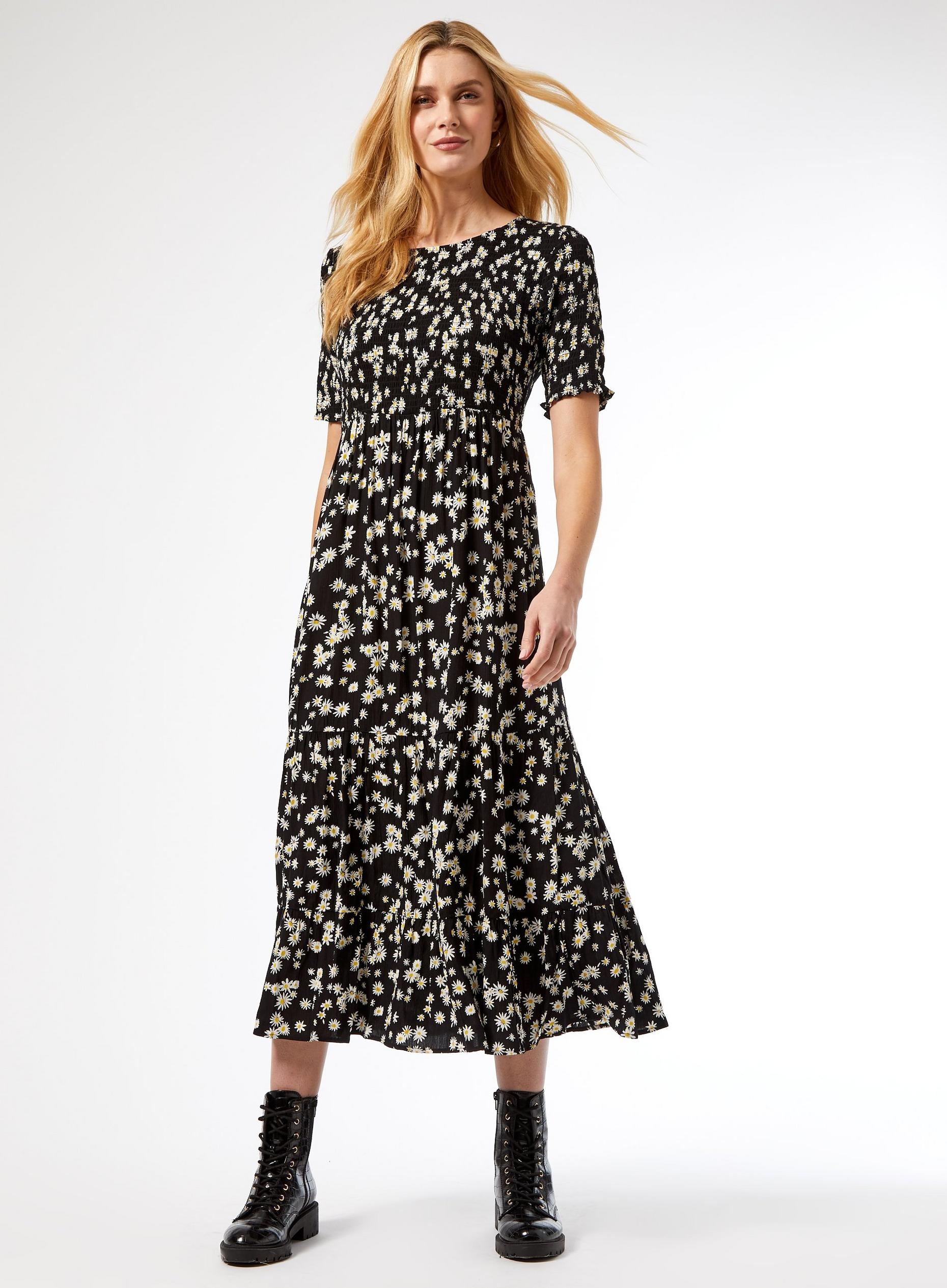 Black Daisy Print Shirred Waist Dress