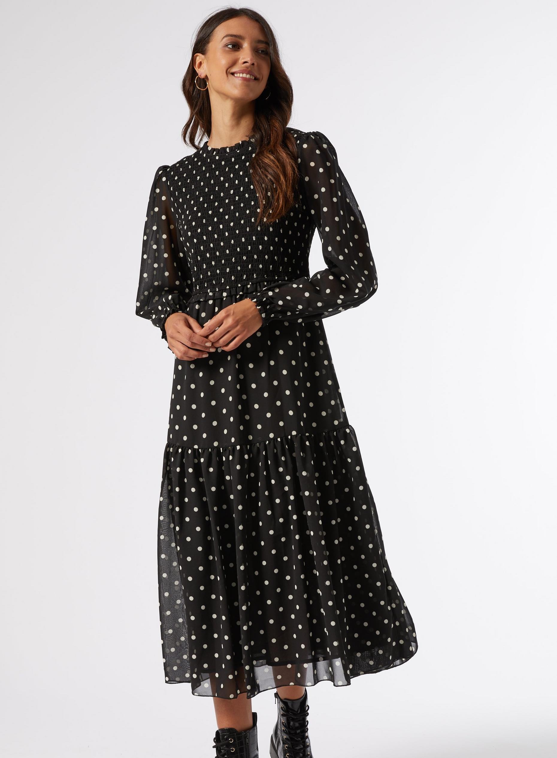 Black Spot Print Shirred Midi Skater Dress
