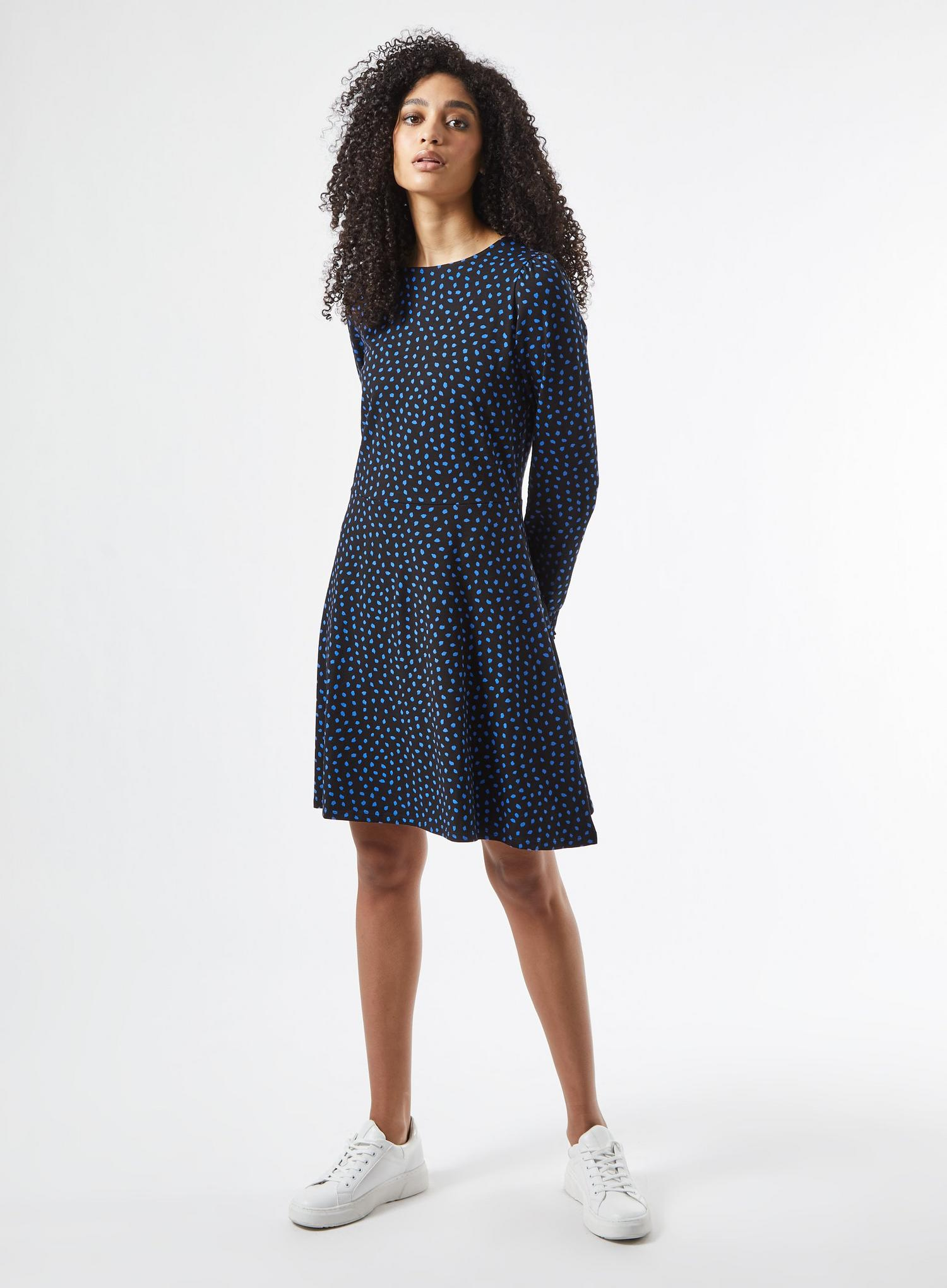 105 Blue Spot Print Organic Mini Dress image number 1