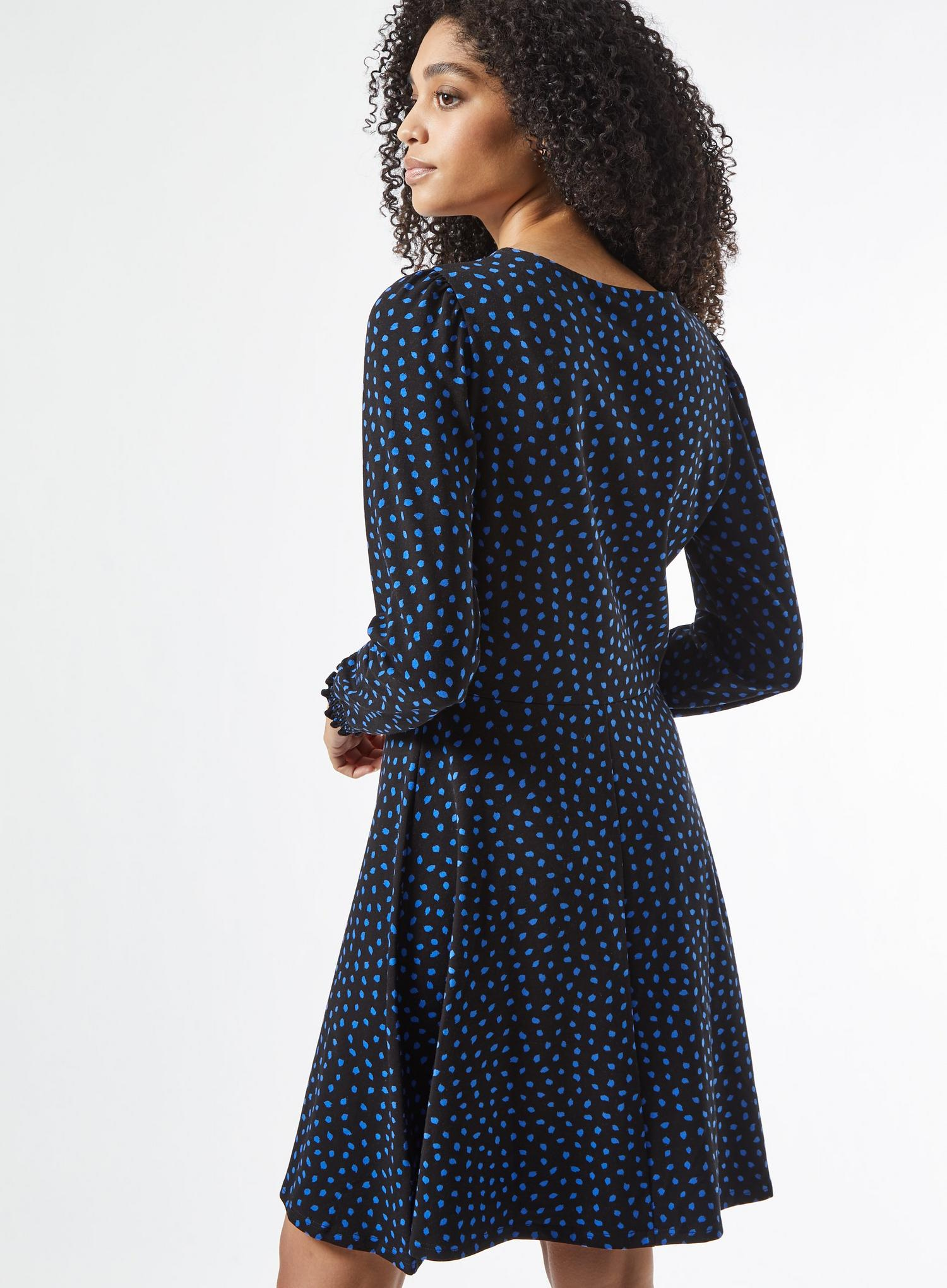 105 Blue Spot Print Organic Mini Dress image number 3