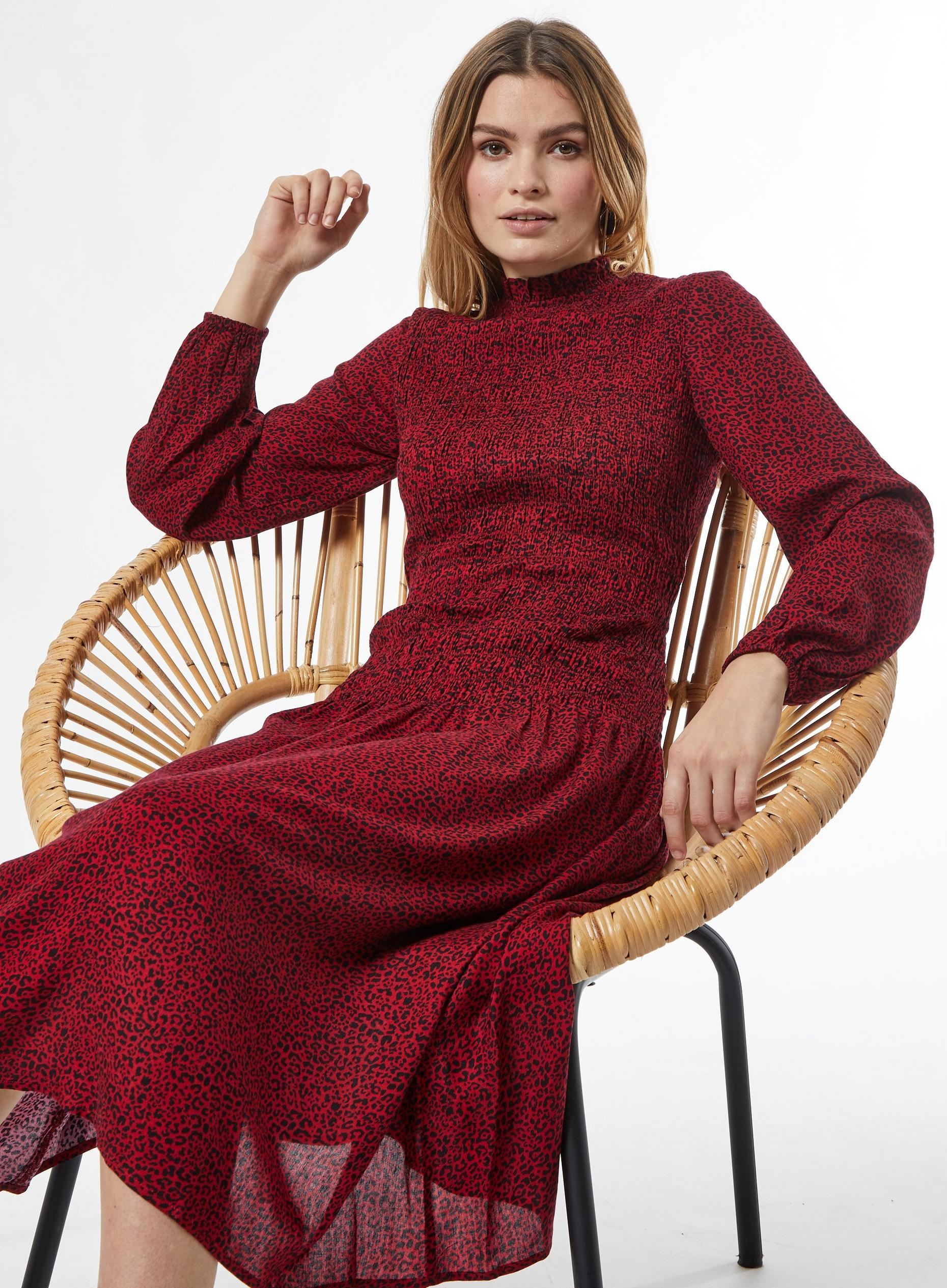 Red Leopard Shirred Midi Dress