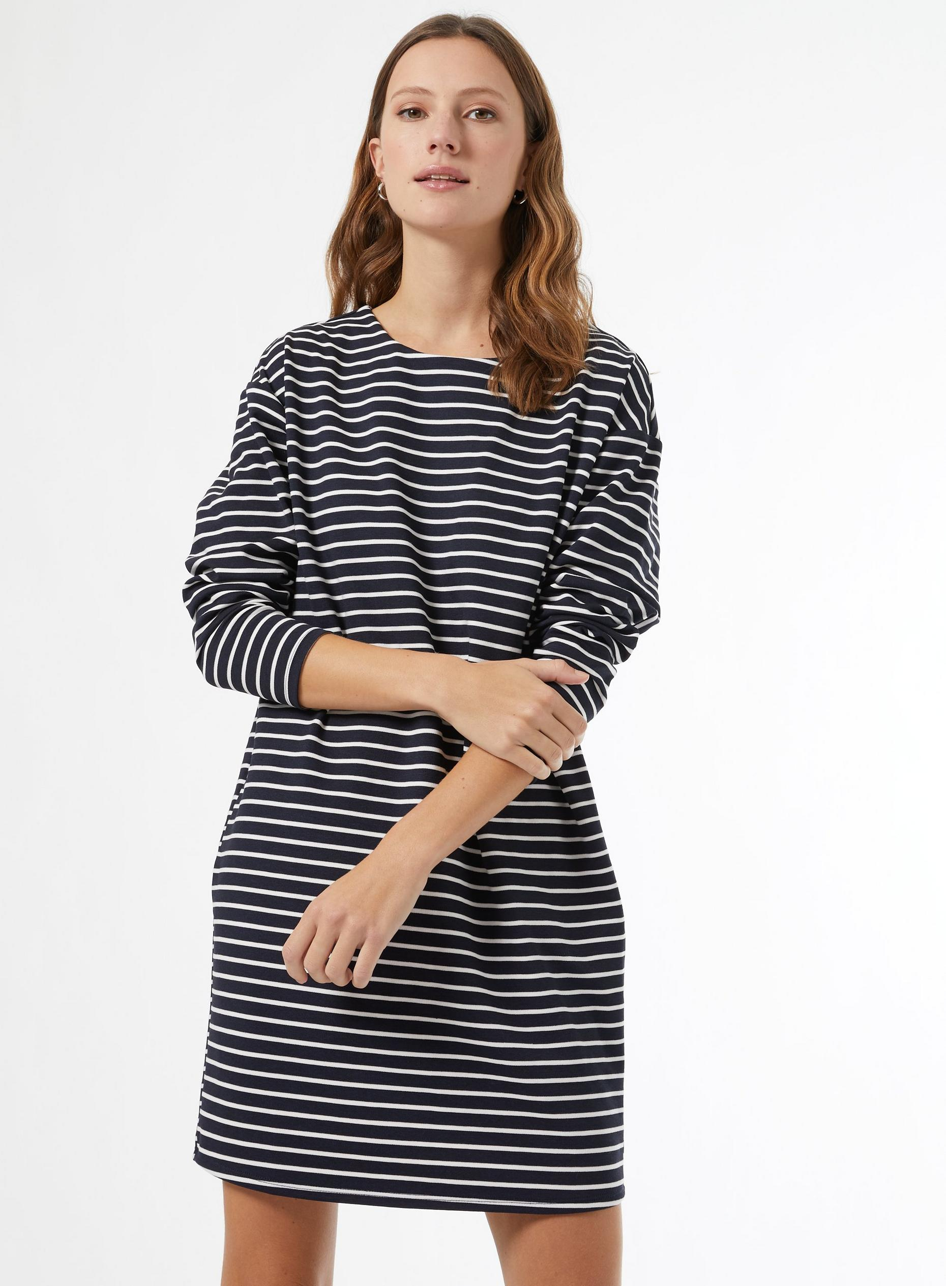 Blue Striped Cocoon Shift Dress