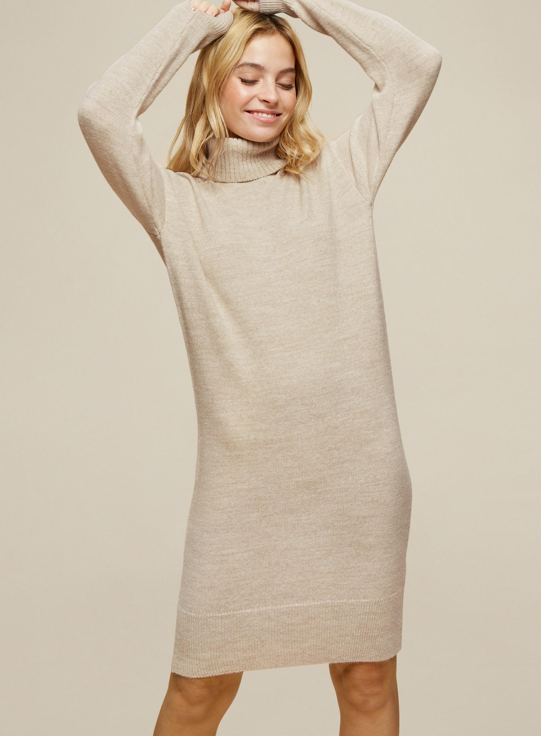 Petites Oat Roll Neck Dress