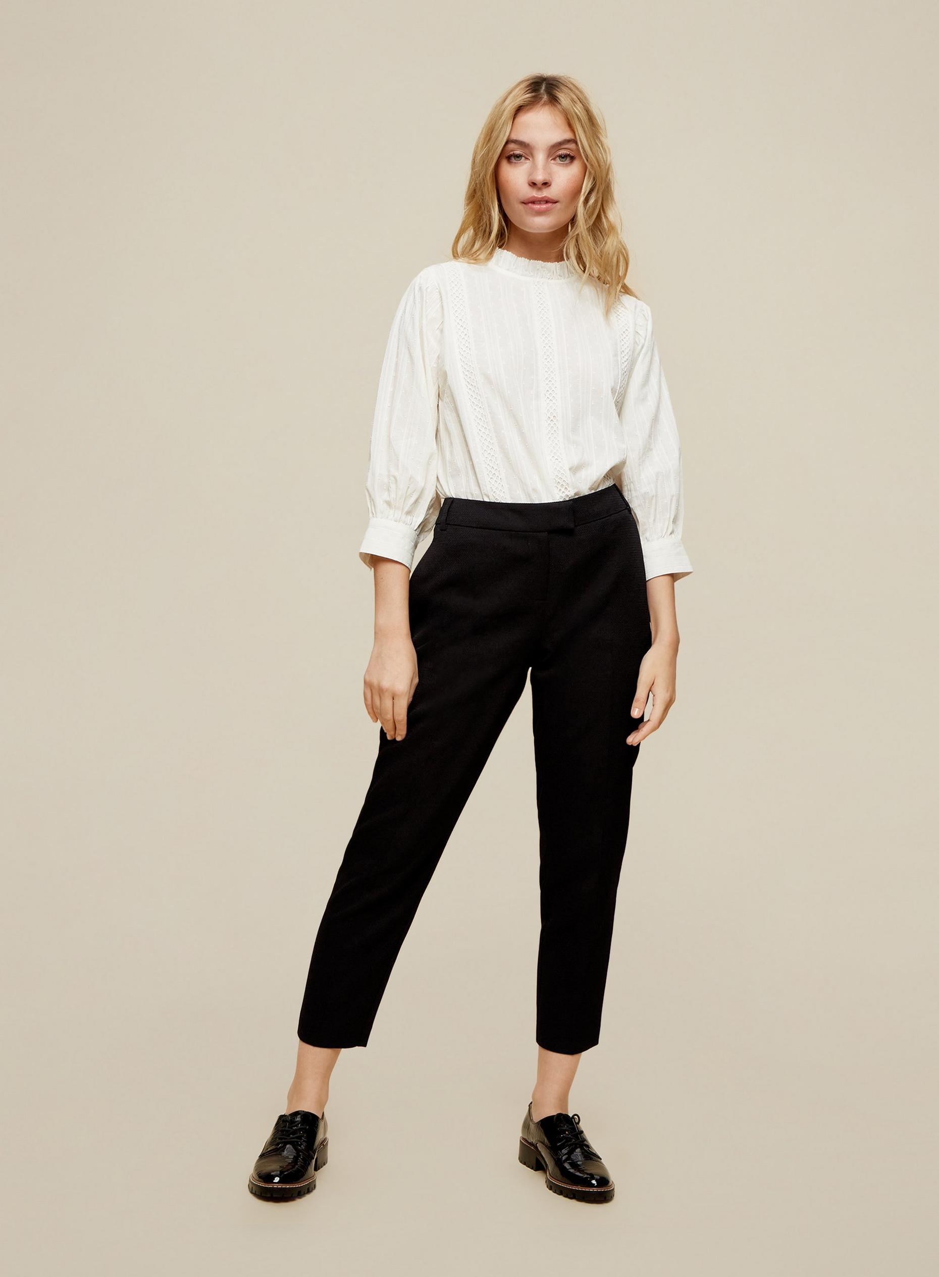 Petite Black Textured Trousers