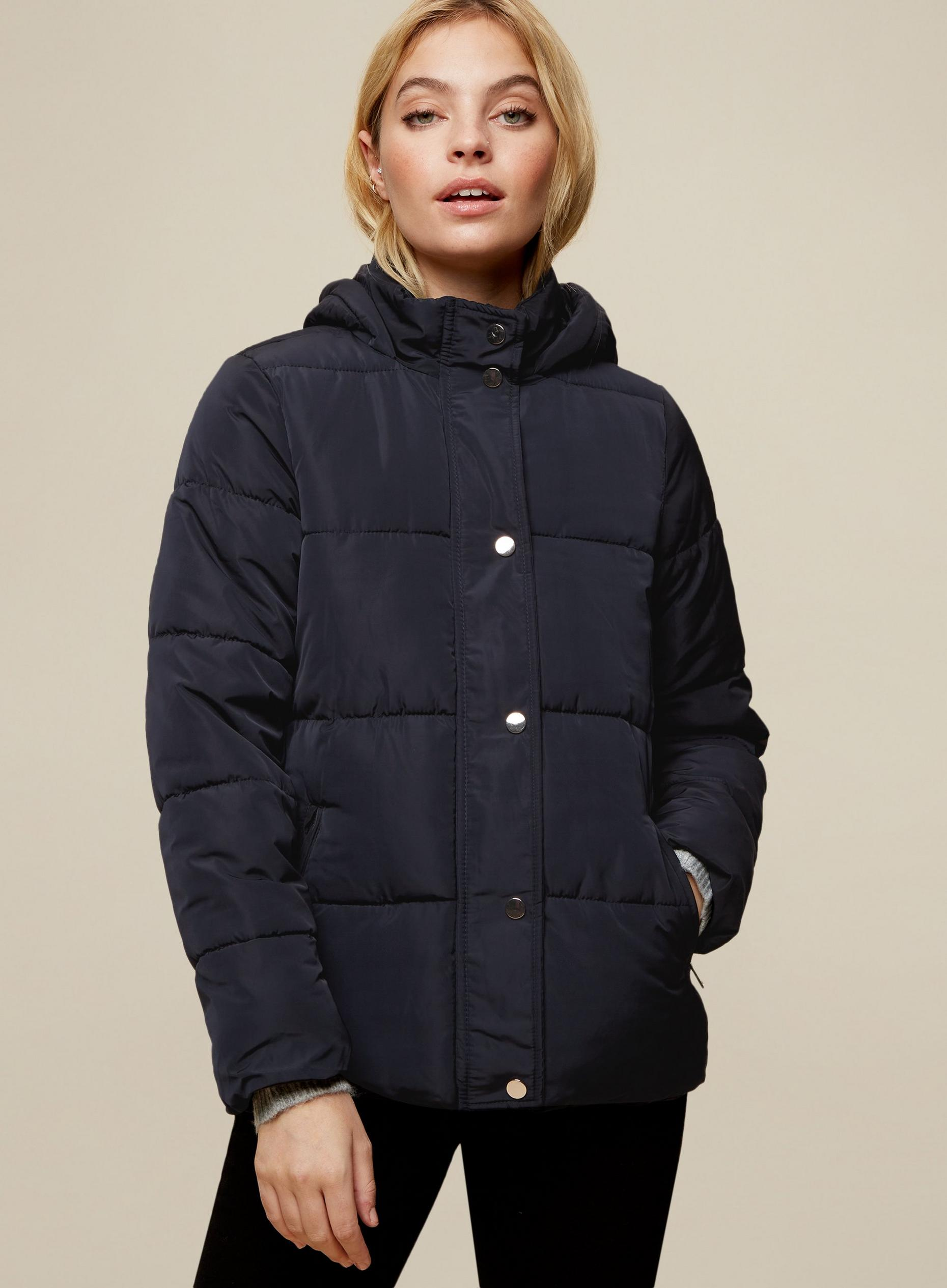 Petite Navy Short Hooded Coat