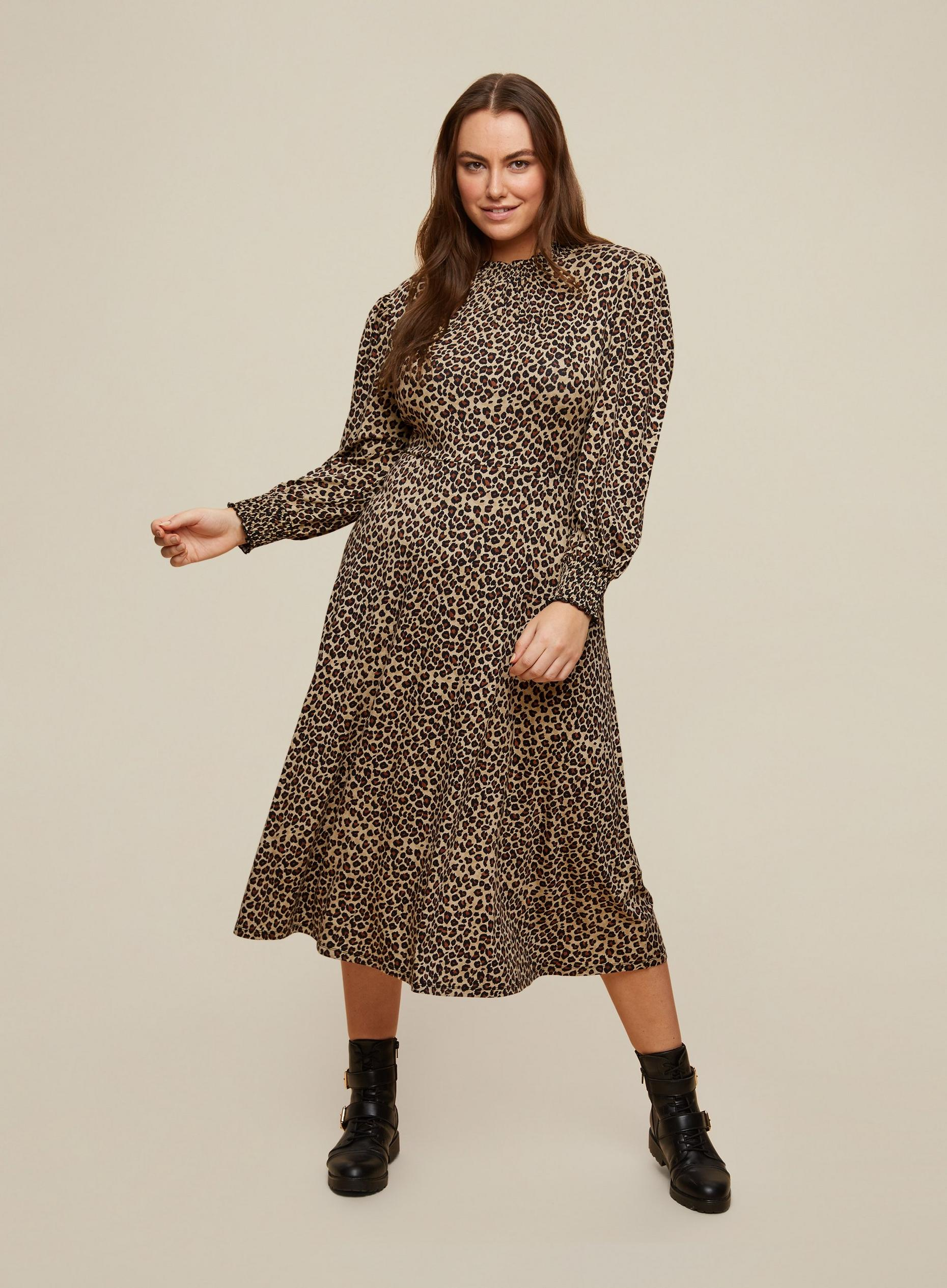 Curve Petite Animal Shirred Neck Midi Dress