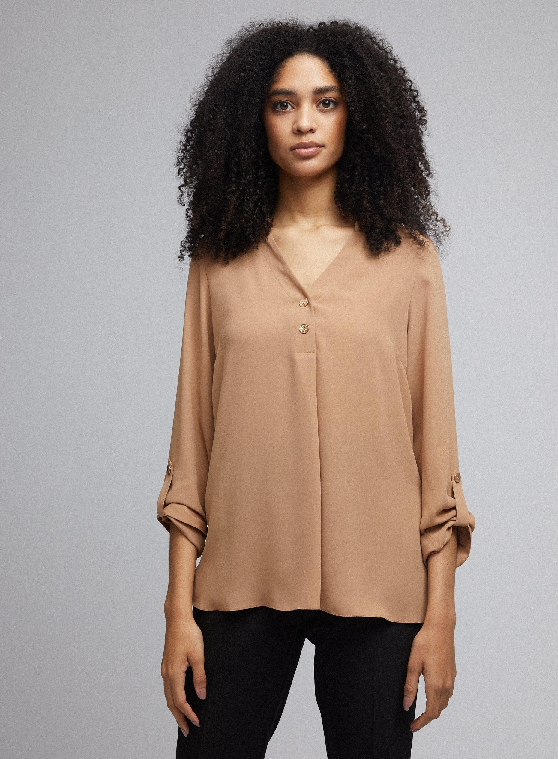Camel Roll Sleeve Blouse
