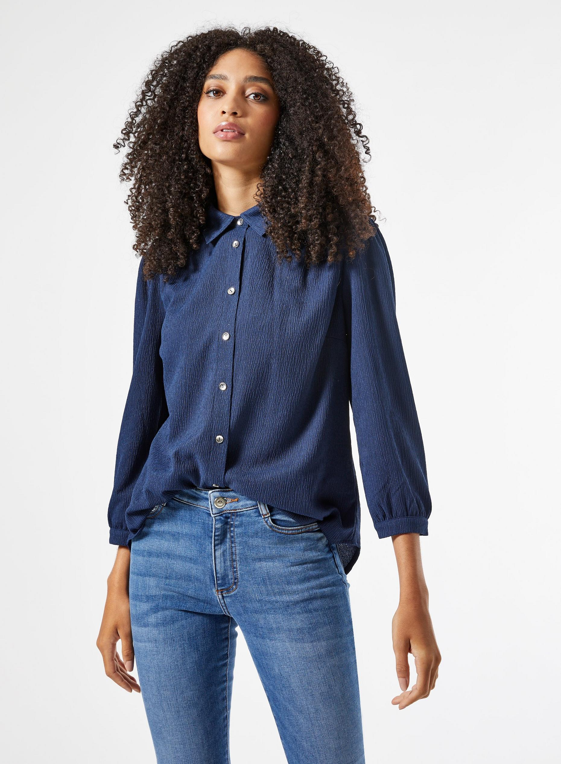 Navy Textured Shirt