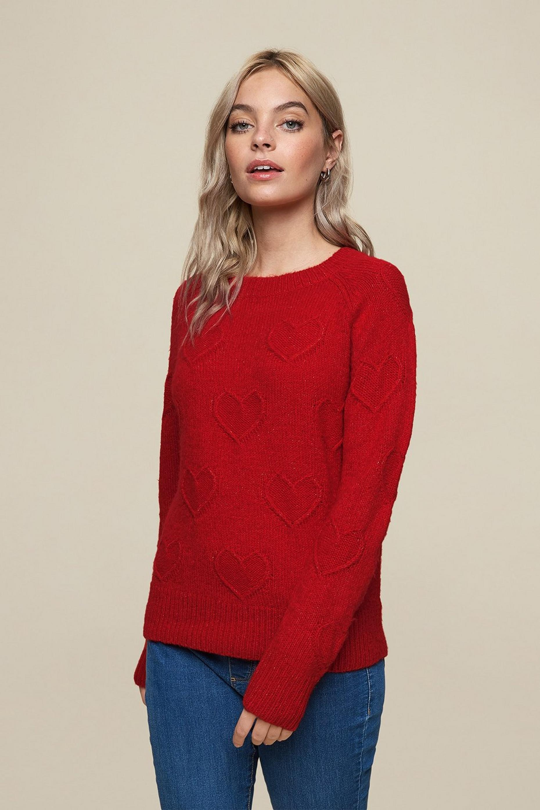 Petites Red Bobble Heart Jumper