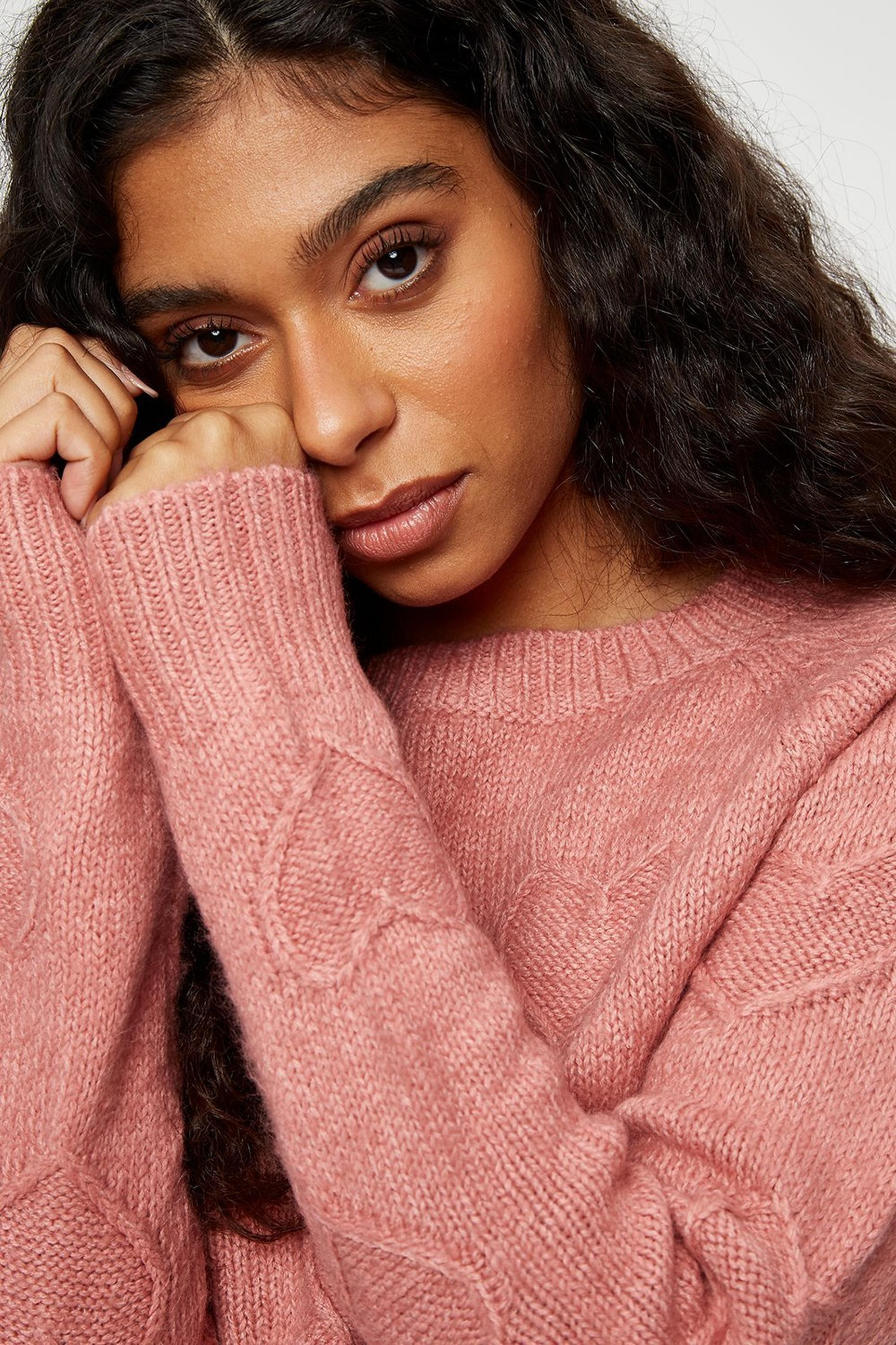 Petites Blush Bobble Heart Jumper