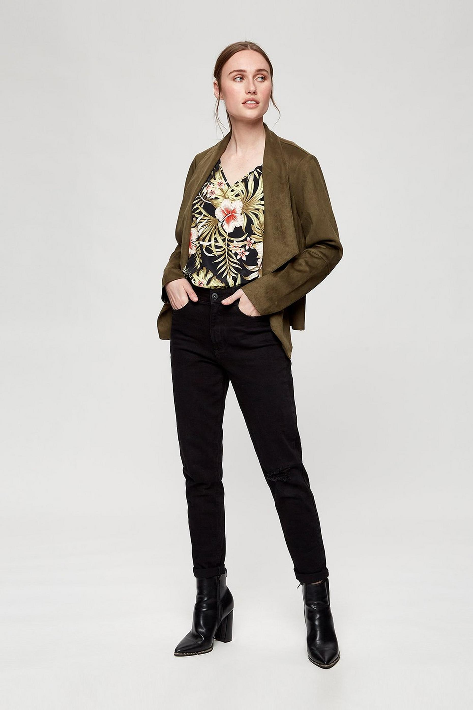 Khaki Suedette Waterfall Jacket