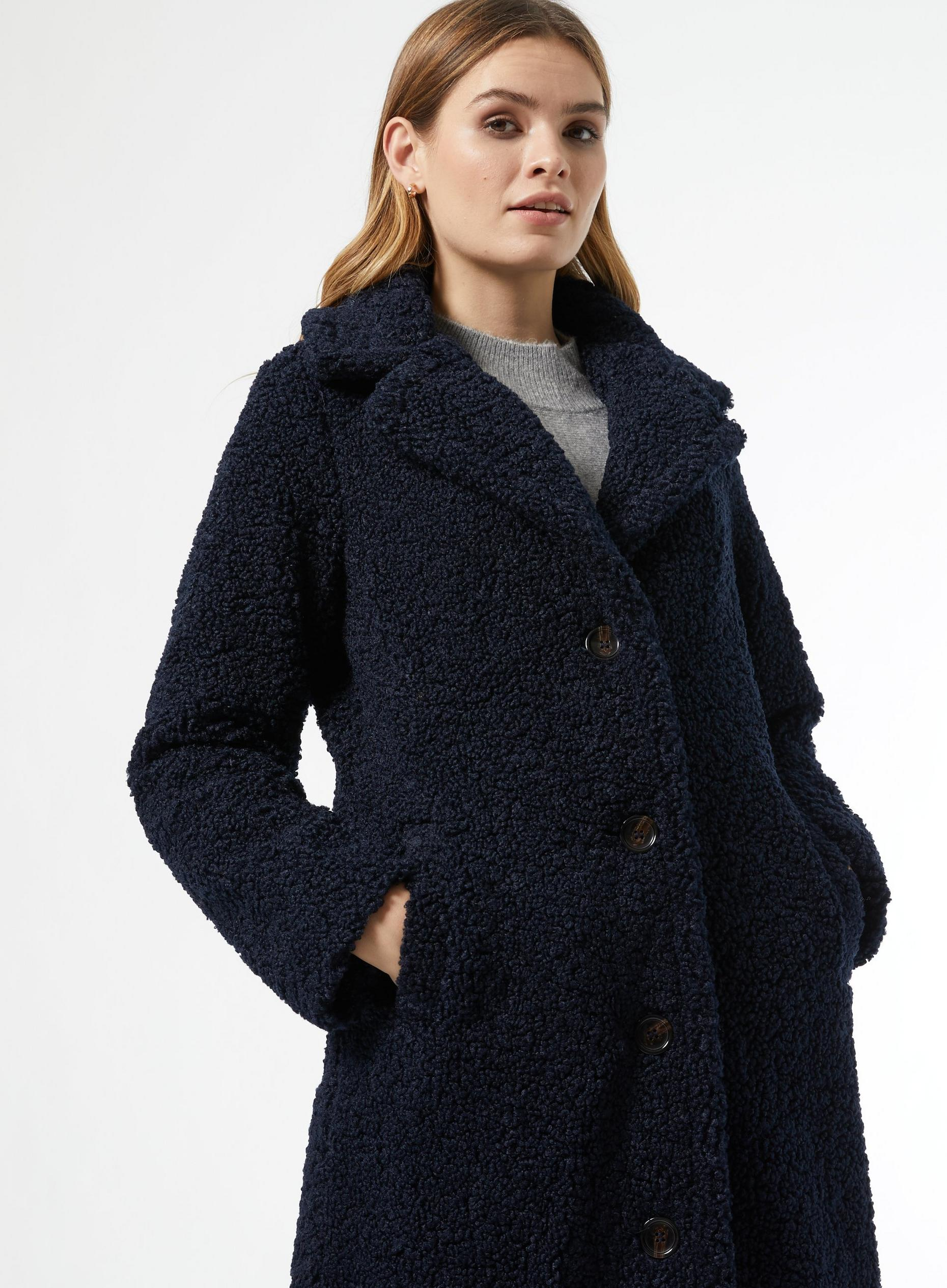 Navy Extra Long Teddy Coat