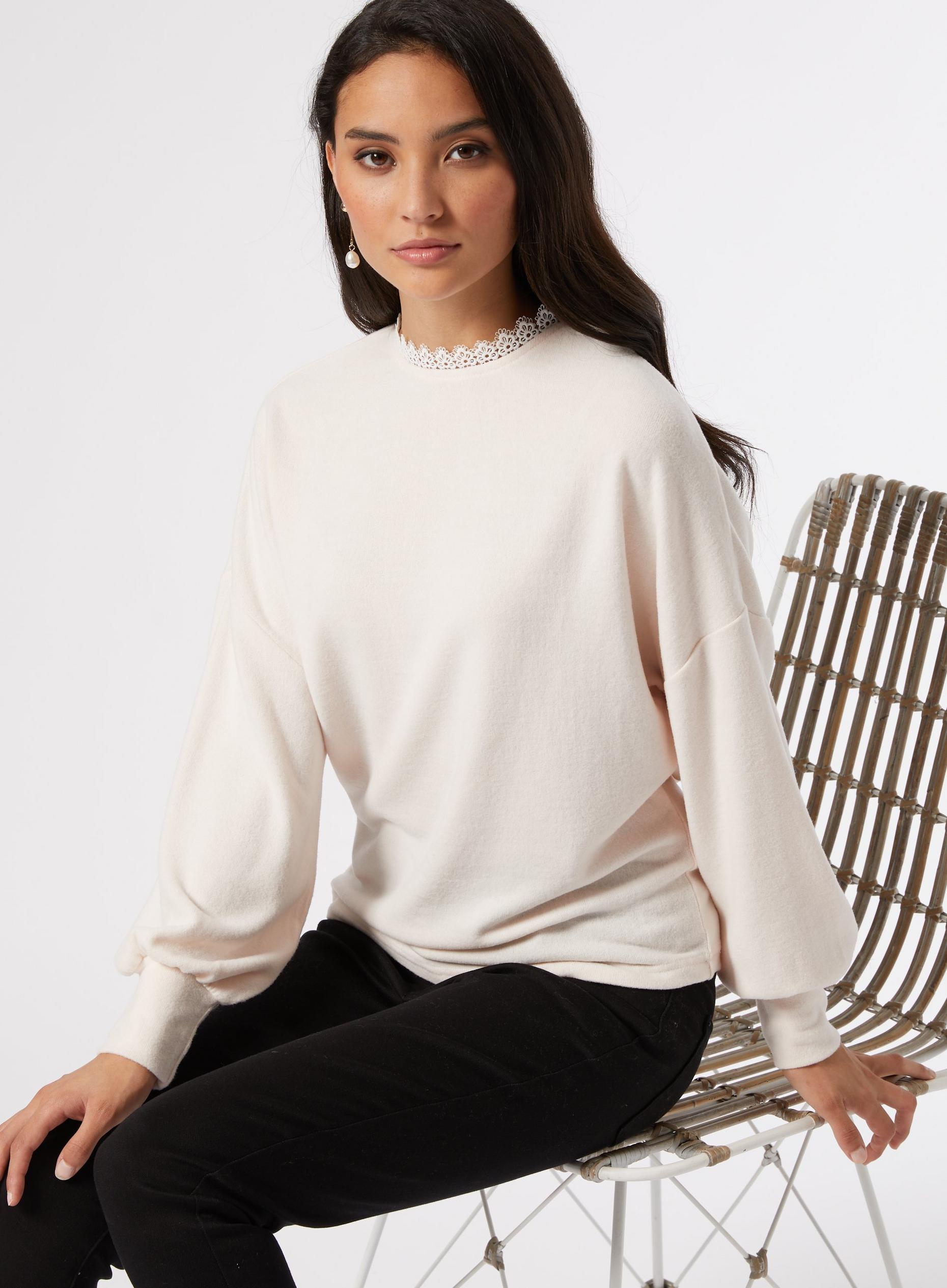 DP Petite Blush Lace Trim Jumper