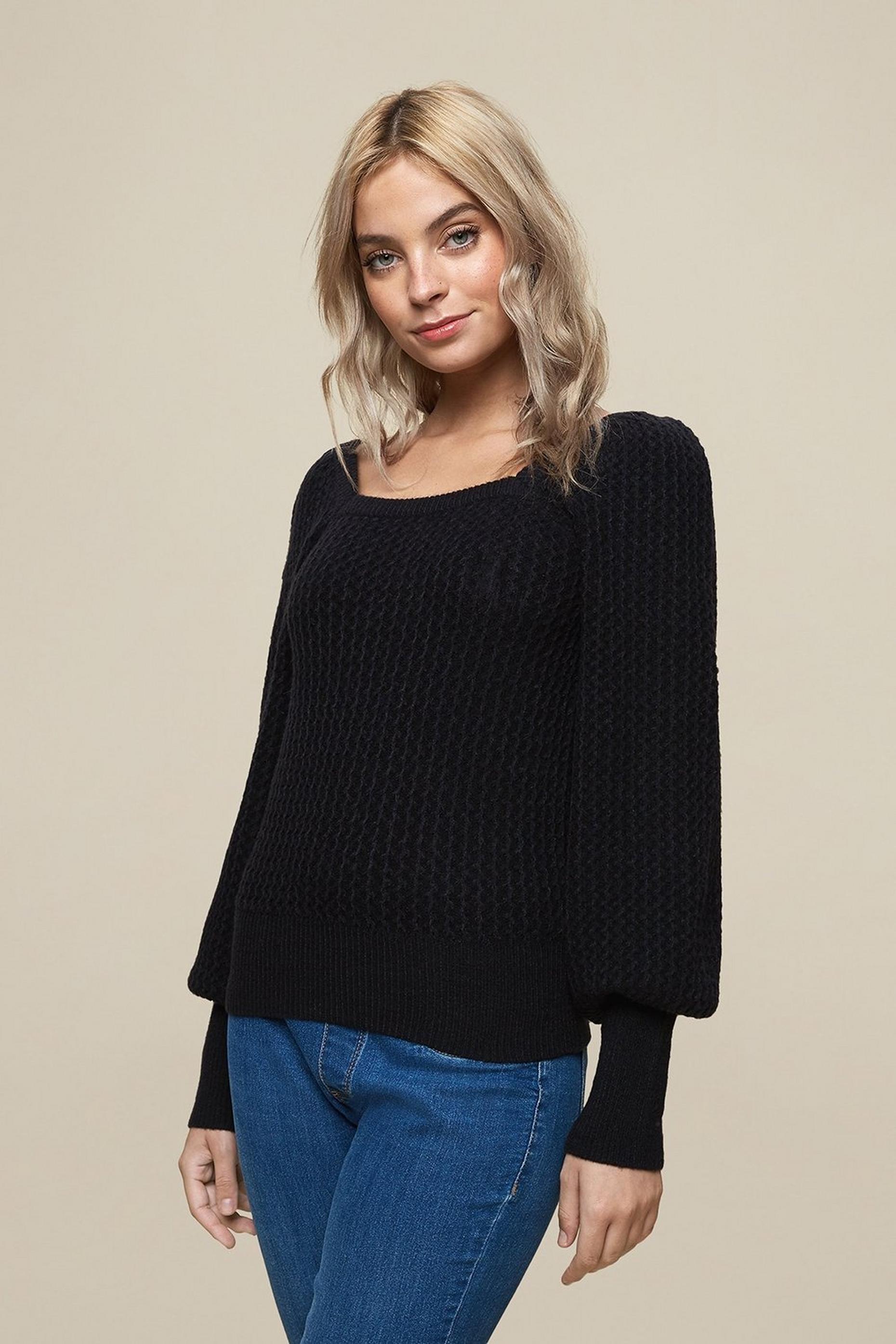 Petites Black Square Neck Jumper