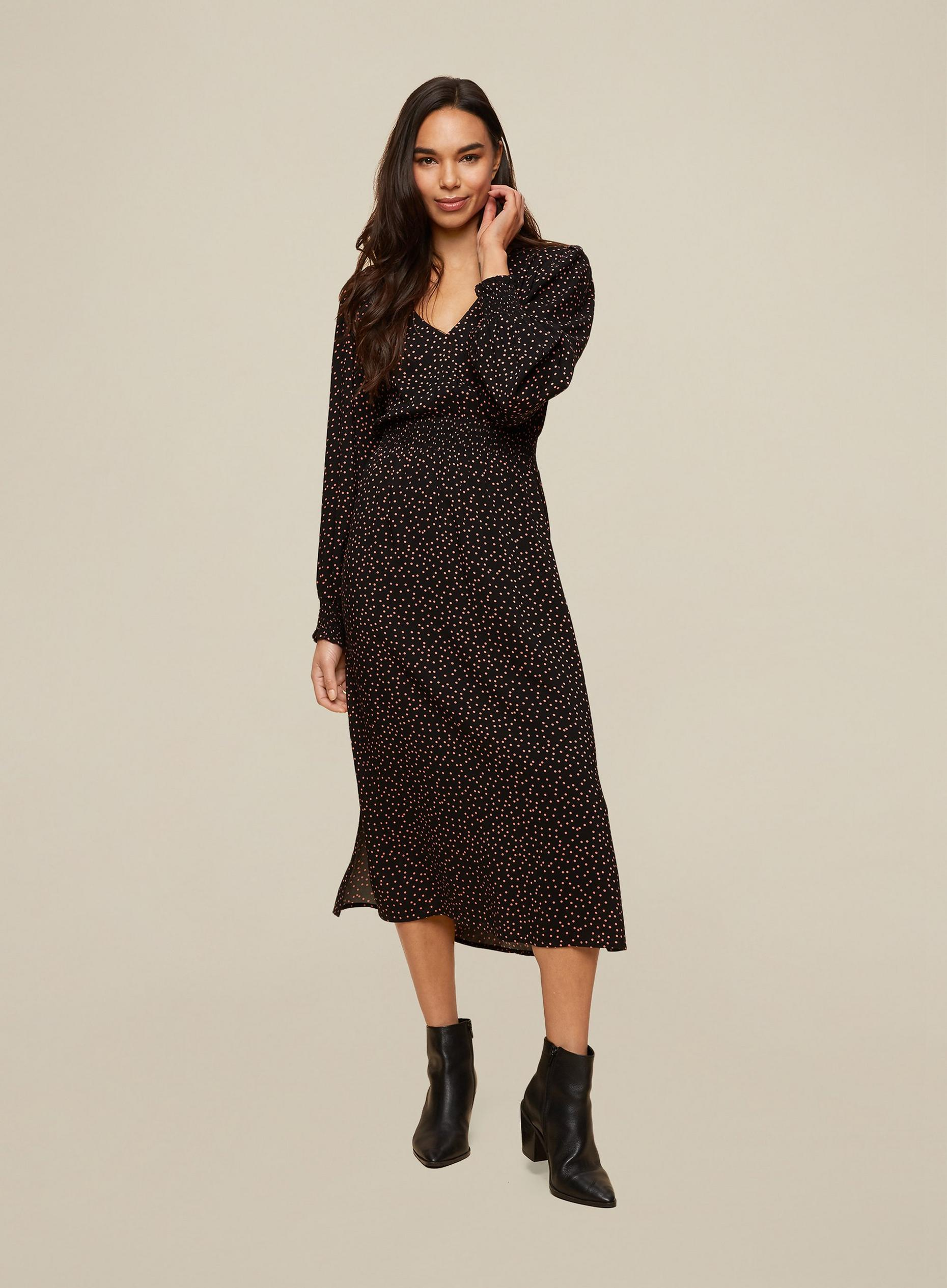 Multi Colour Spot Print Midi Dress