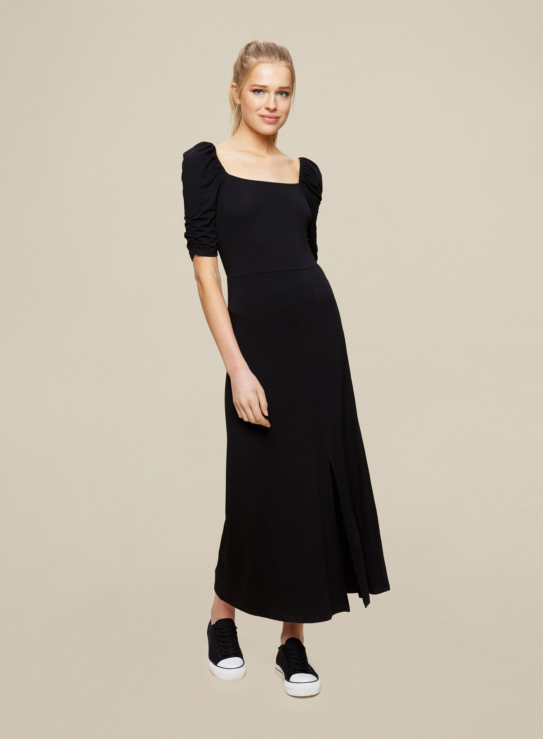 Black Ruched Sleeve Midi Dress