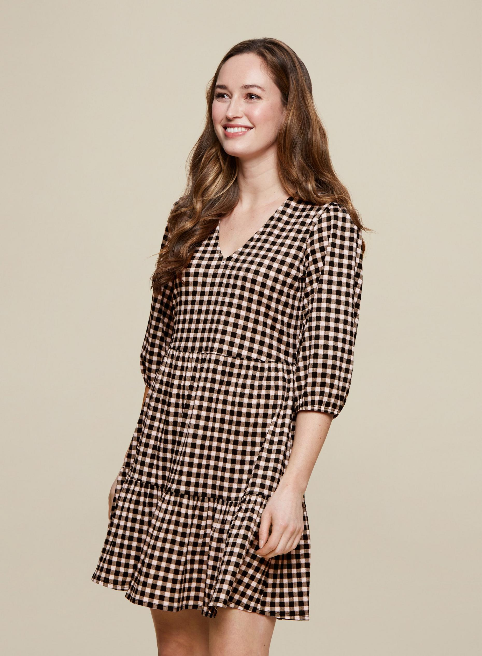 Black Pink Gingham Smock Dress