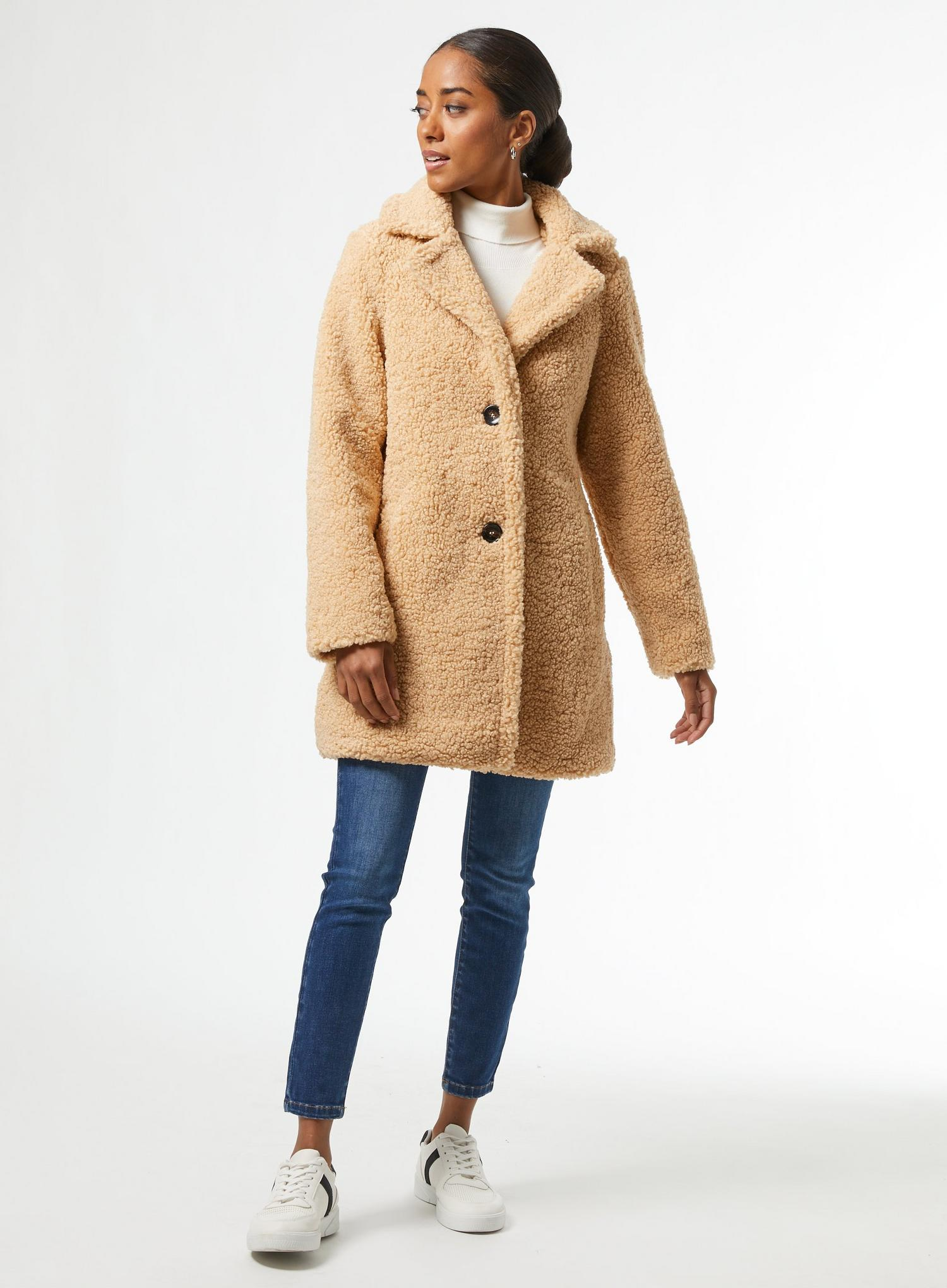 103 Petite Oatmeal Teddy Coat image number 1