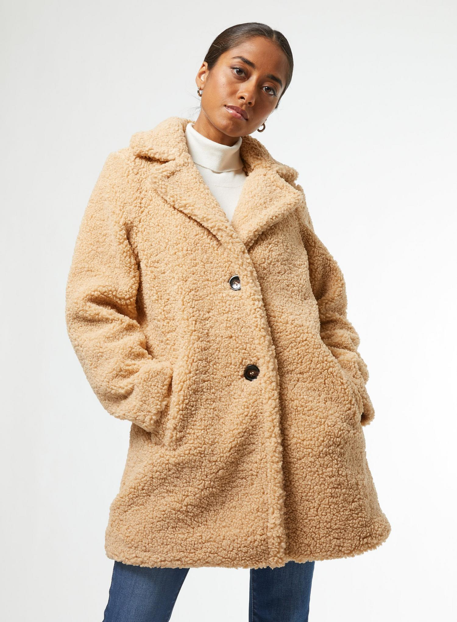 103 Petite Oatmeal Teddy Coat image number 2