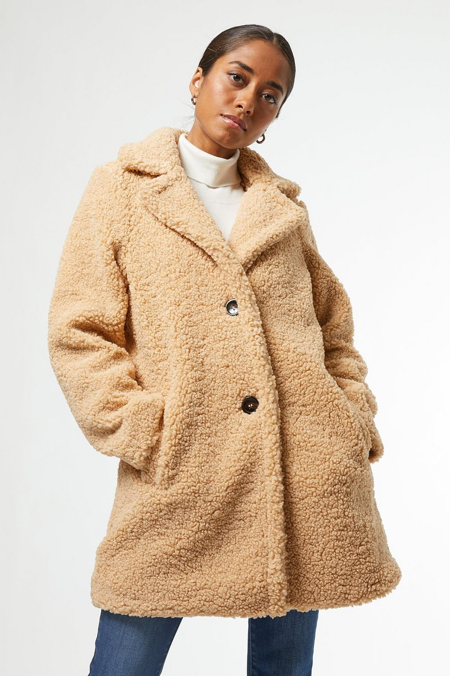 103 Petite Oatmeal Teddy Coat image number 4