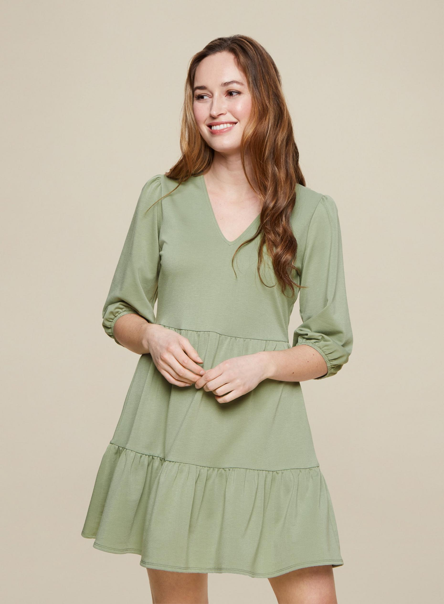 Sage Green Jersey Mini Smock Dress