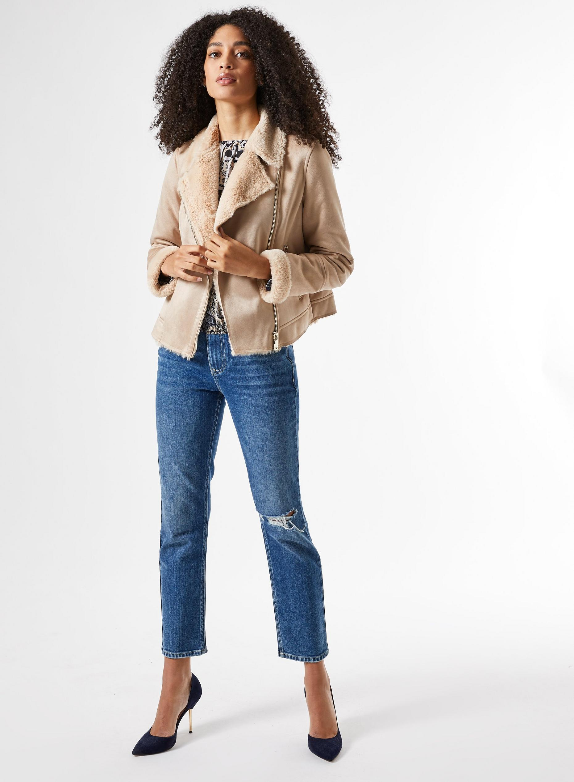 Neutral Short Shearling Coat