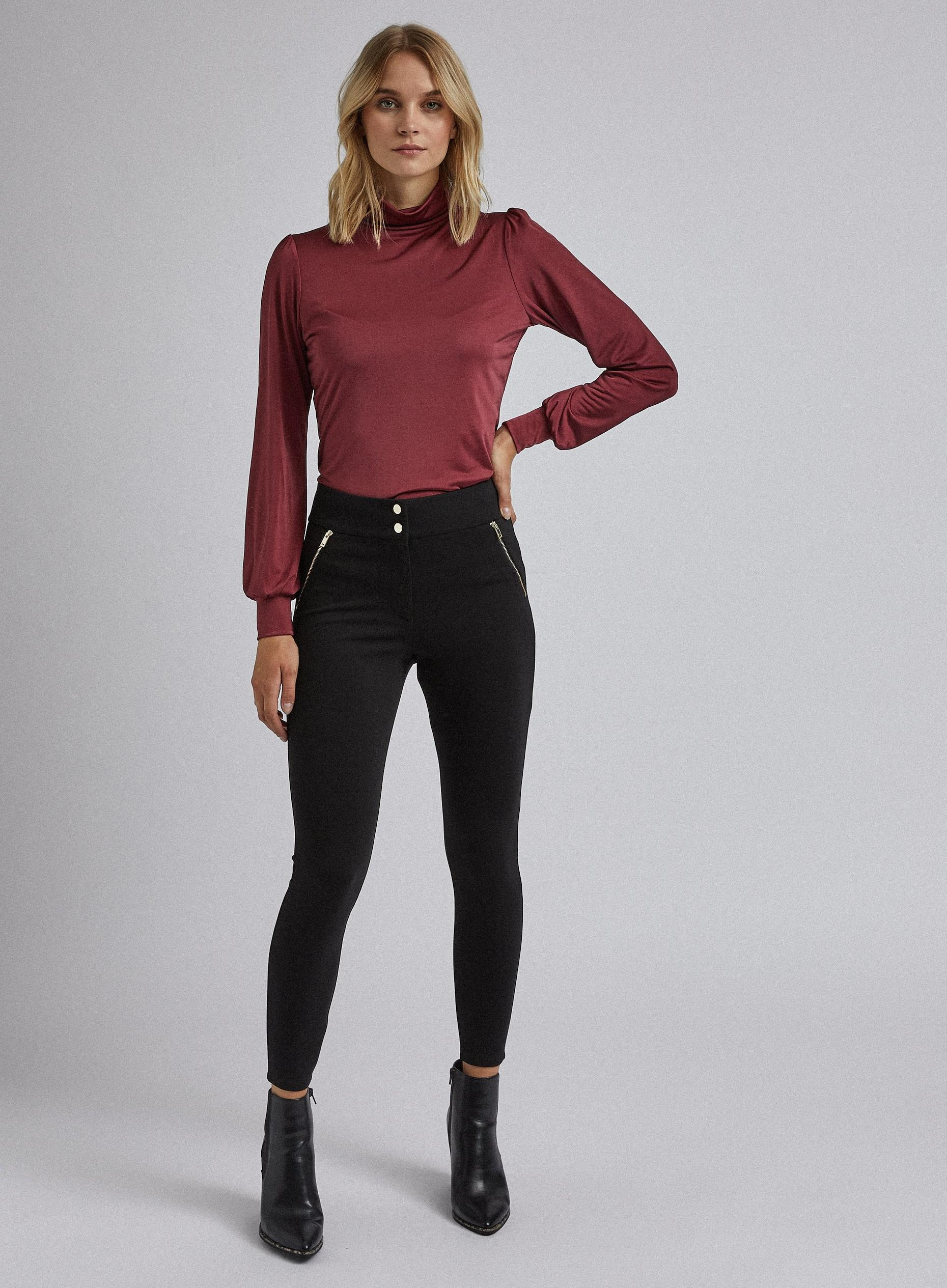 Black Skinny Zip Treggings