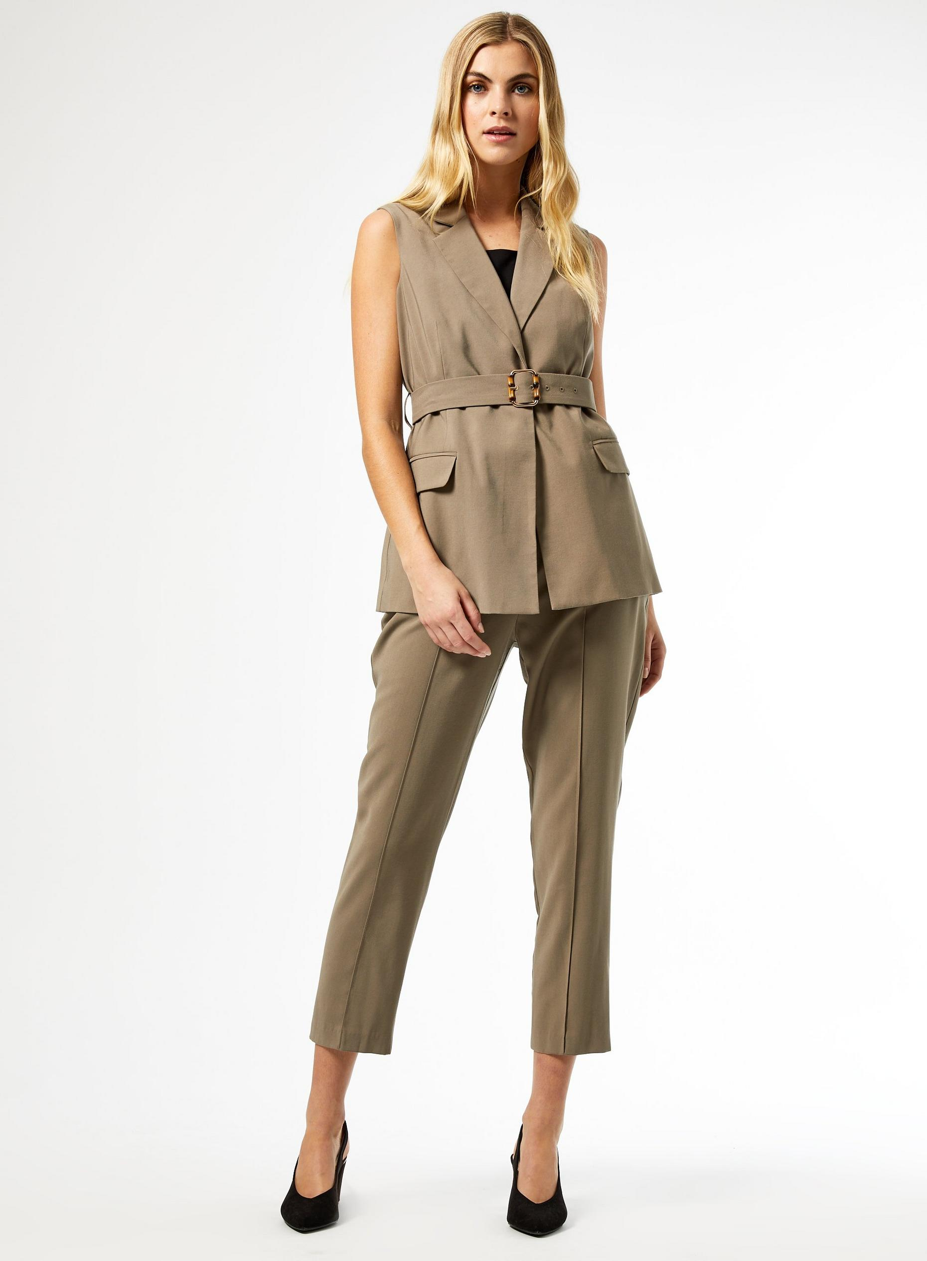 Khaki Bamboo Belted Tailored Trousers