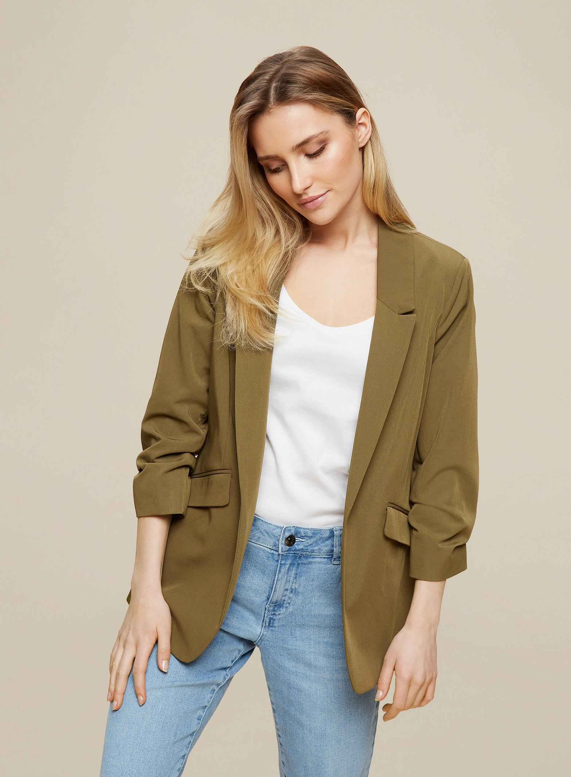 Khaki Ruched Sleeve Jacket