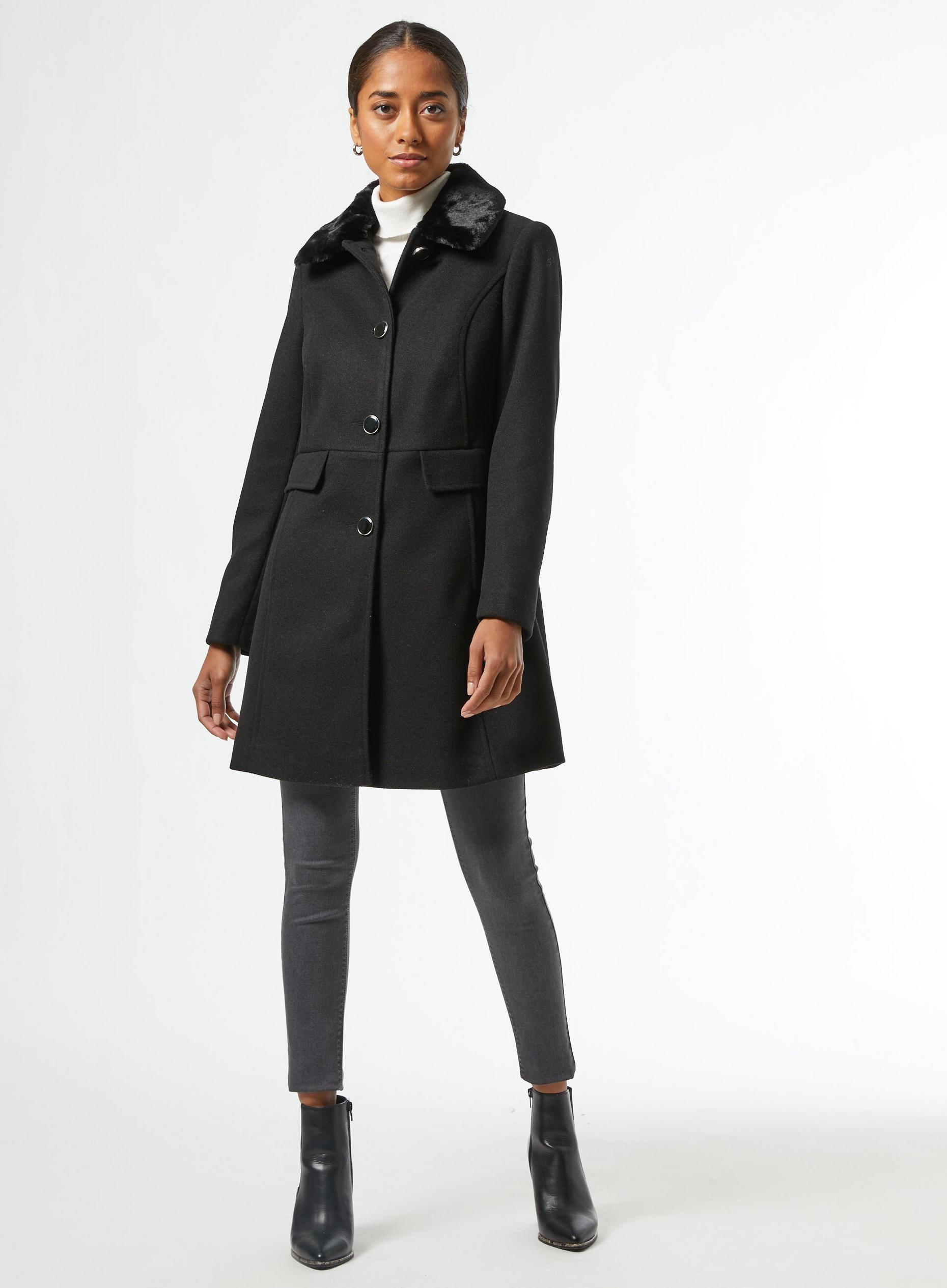 Petite Black Dolly Coat
