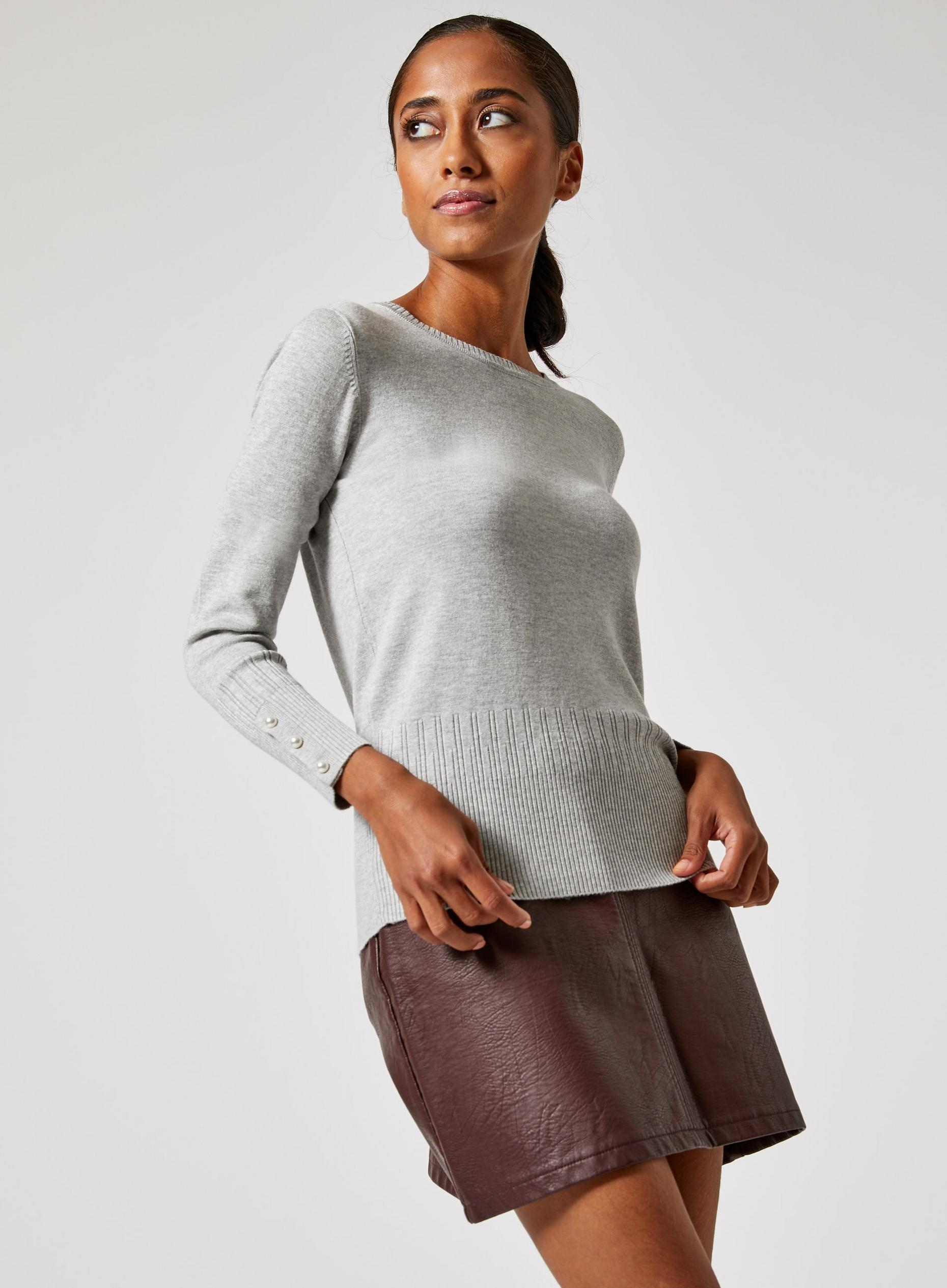 Petites Grey Pearl Button Cuff Jumper