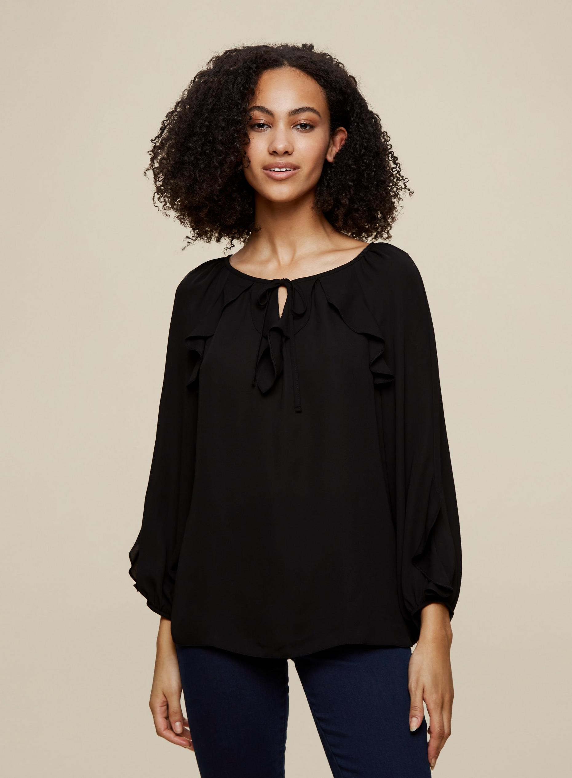 Tall Black Ruffle Top