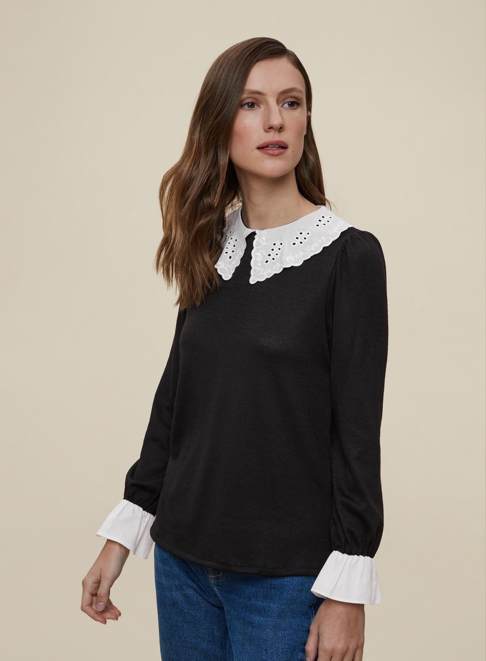 Black Top With Collar
