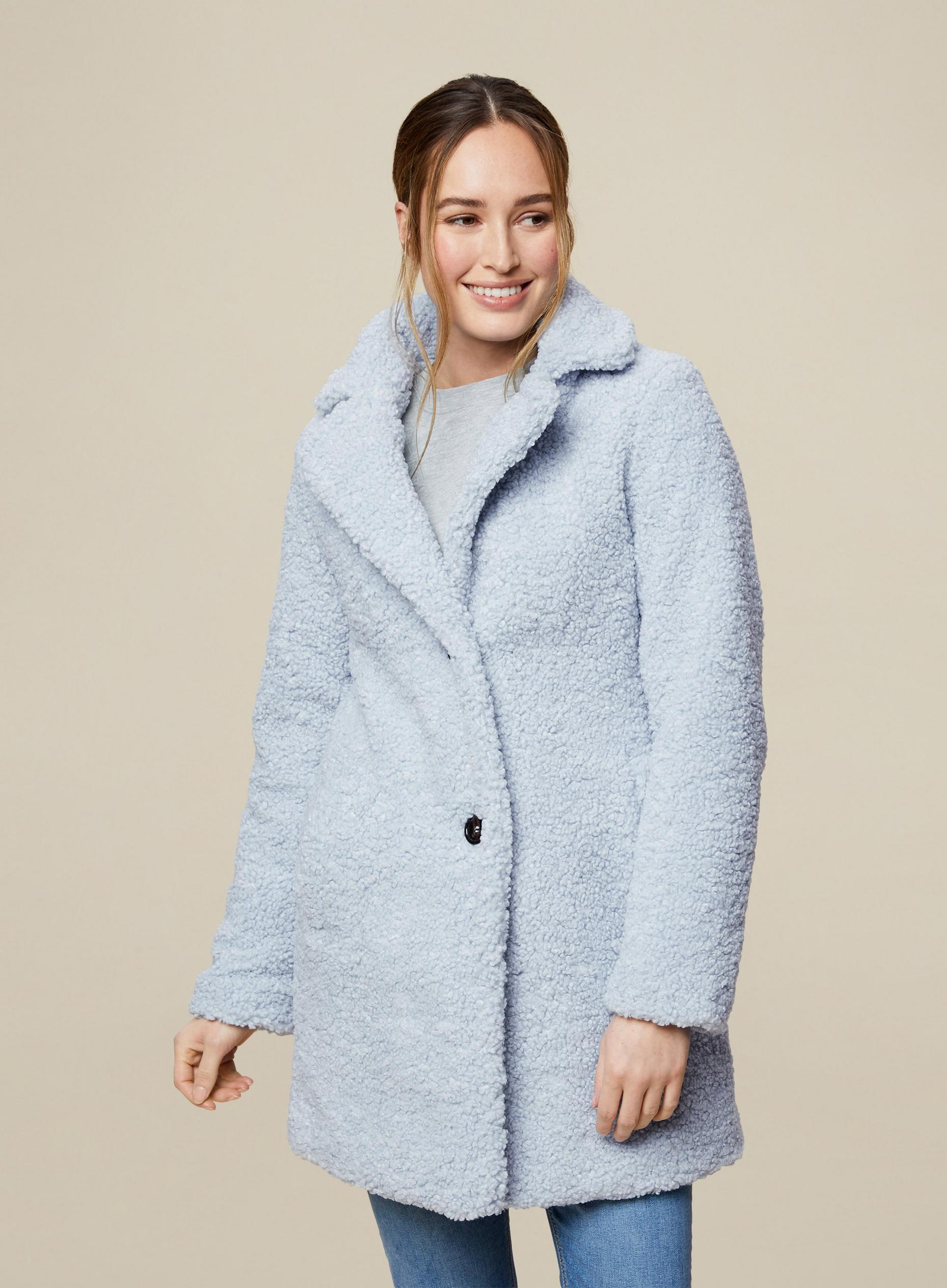 Blue Long Teddy Coat