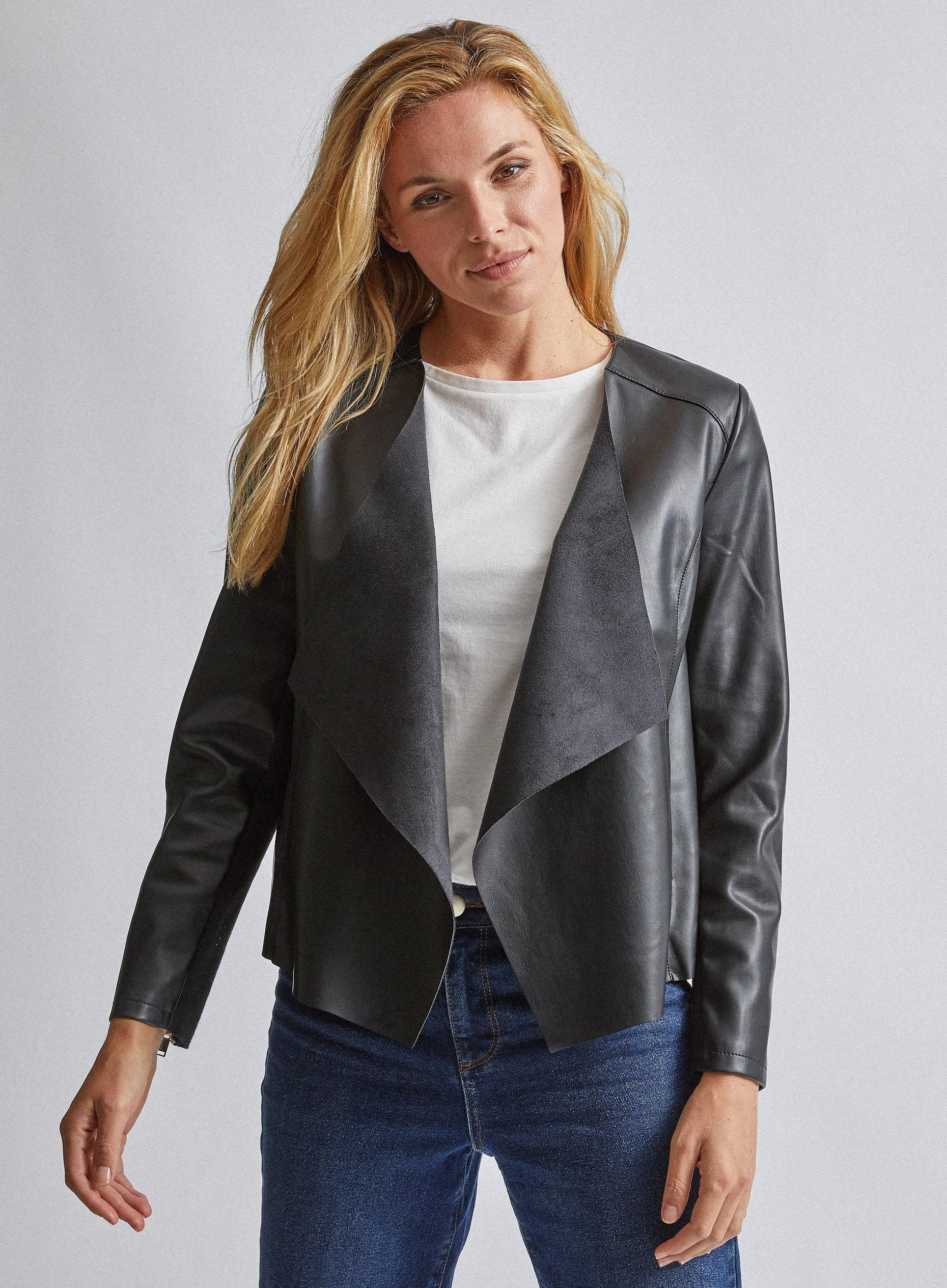 Black Faux Leather Waterfall Jacket