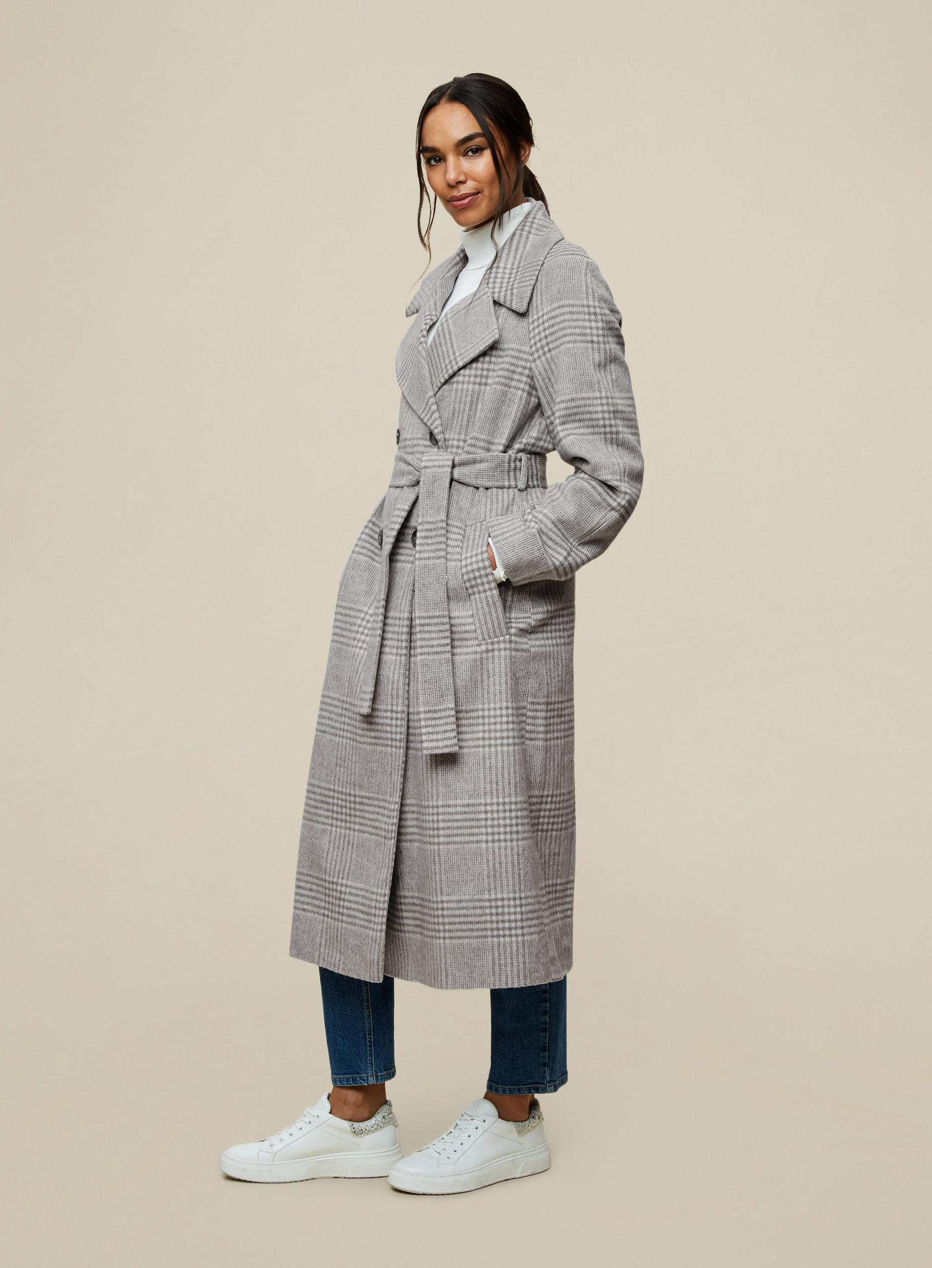 Check Double Breasted Wrap Maxi Coat
