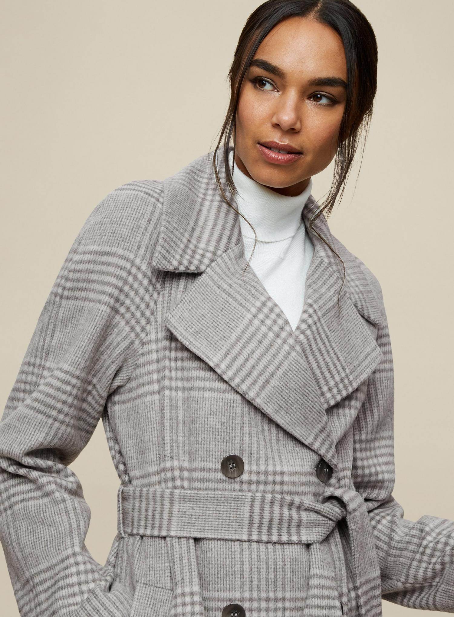 131 Check Double Breasted Wrap Maxi Coat image number 3