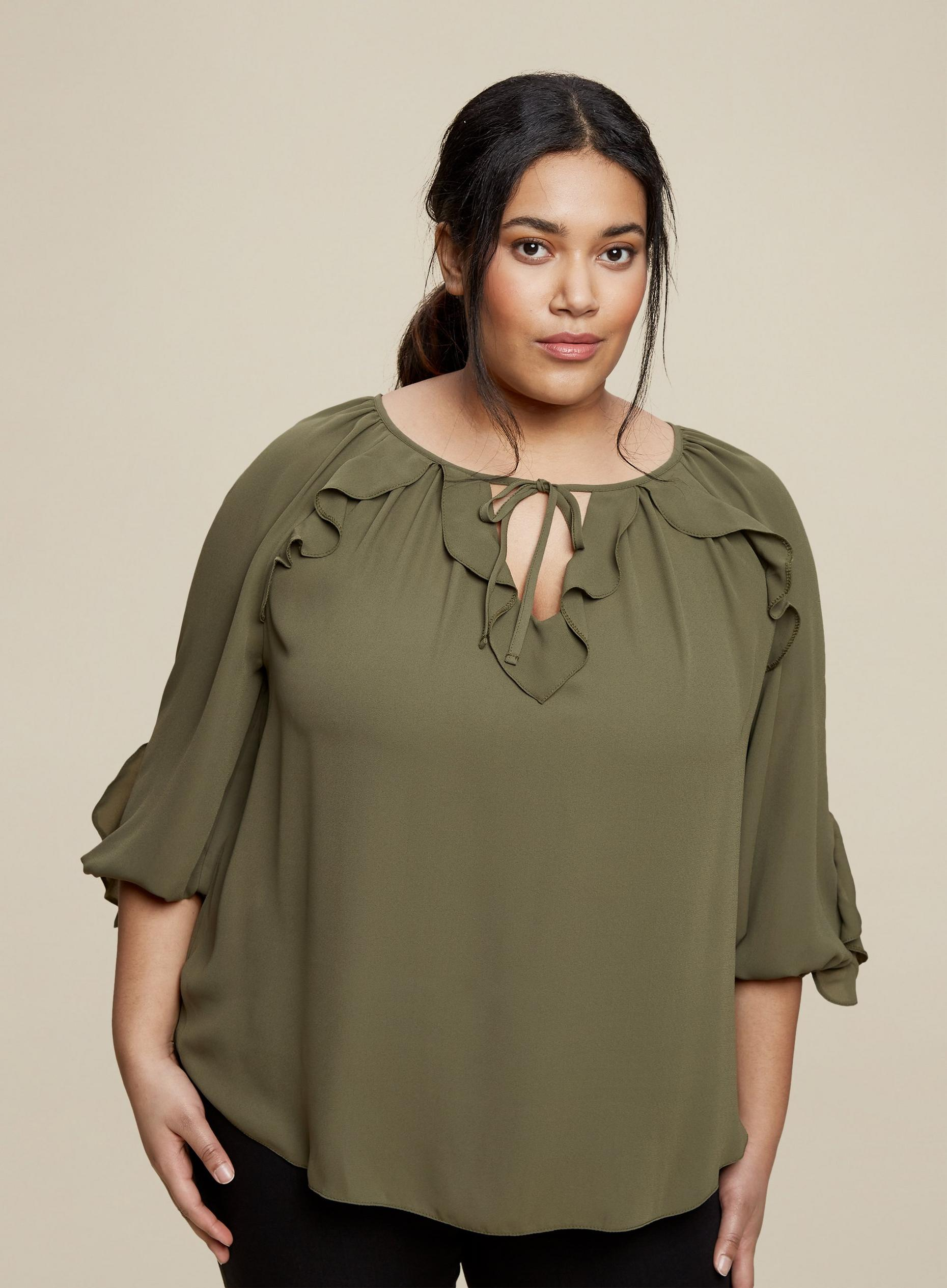Curve Green Ruffle Top